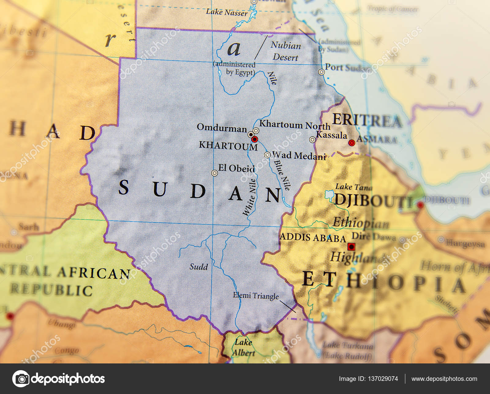 Geographic Map Of Sudan With Important Cities Stock Photo - Wad madani map