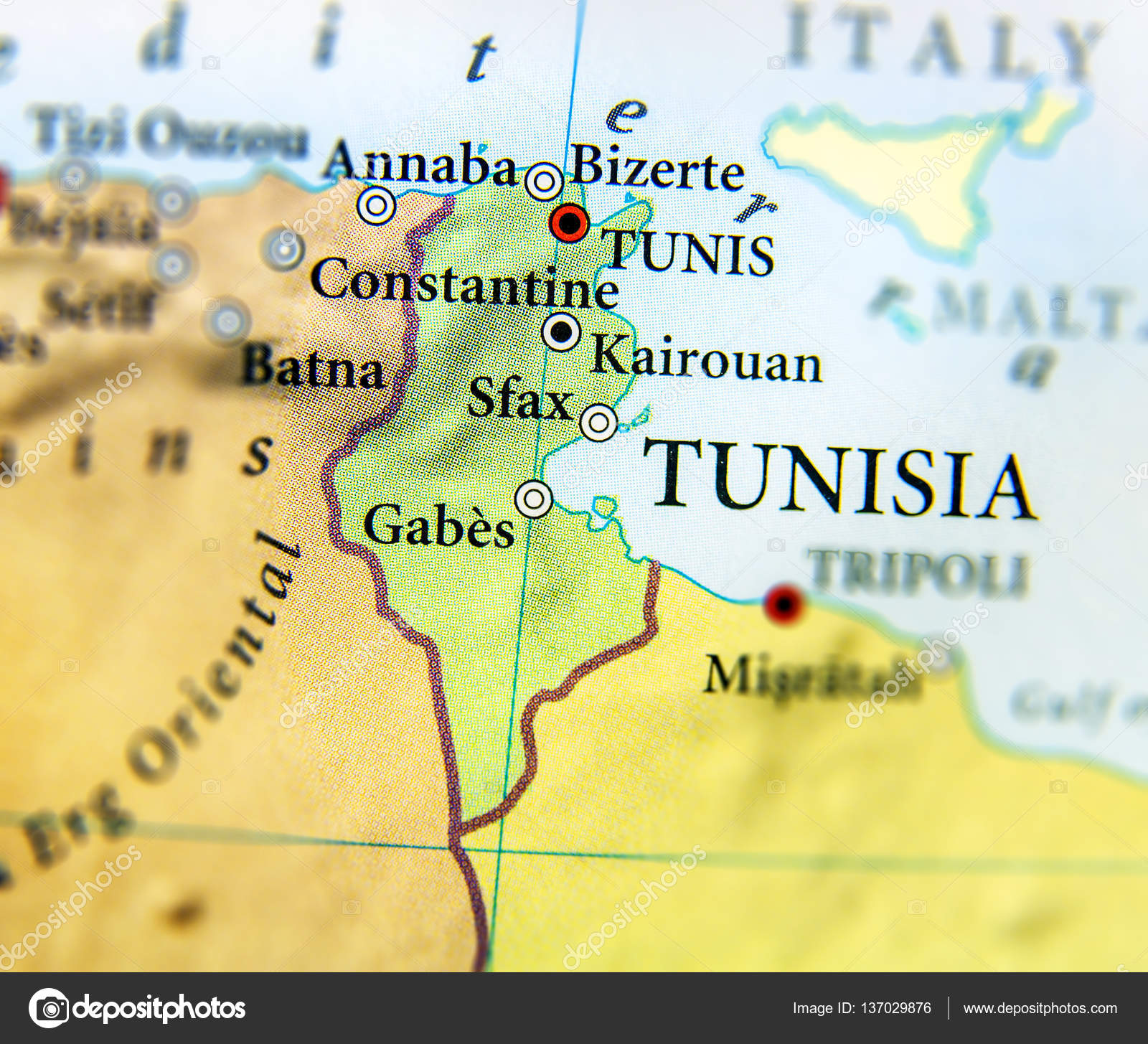 Geographic map of Tunisia country with important cities — Stock ...