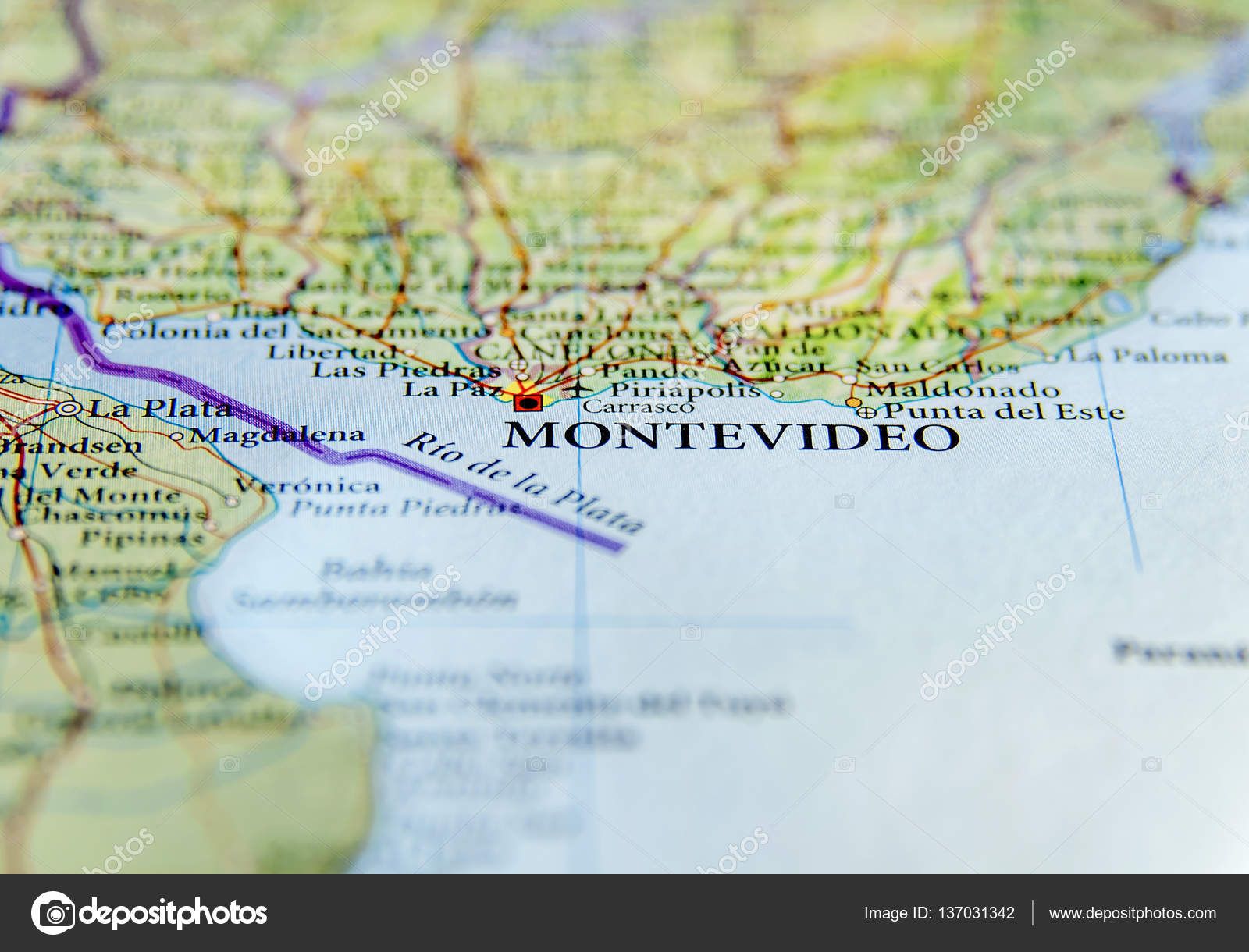 Geographic map of Uruguay with Montevideo capital city — Stock Photo ...
