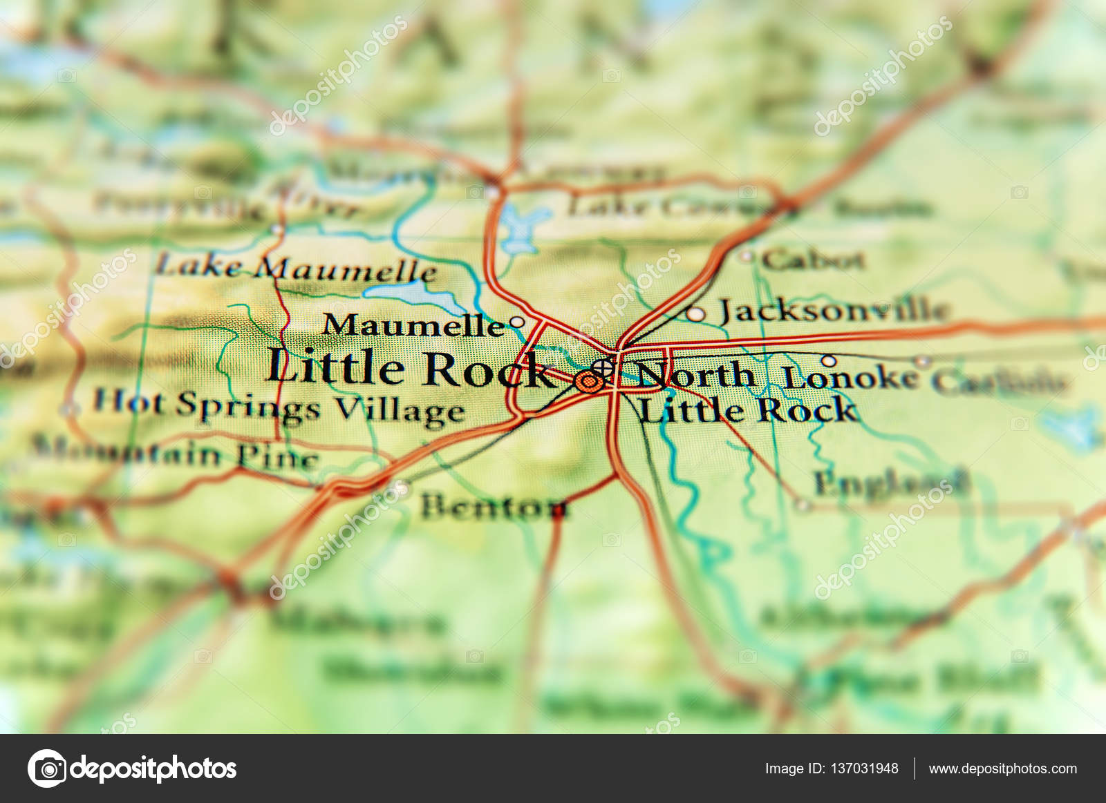 Geographic map of US state Arkansas and Little Rock city ...