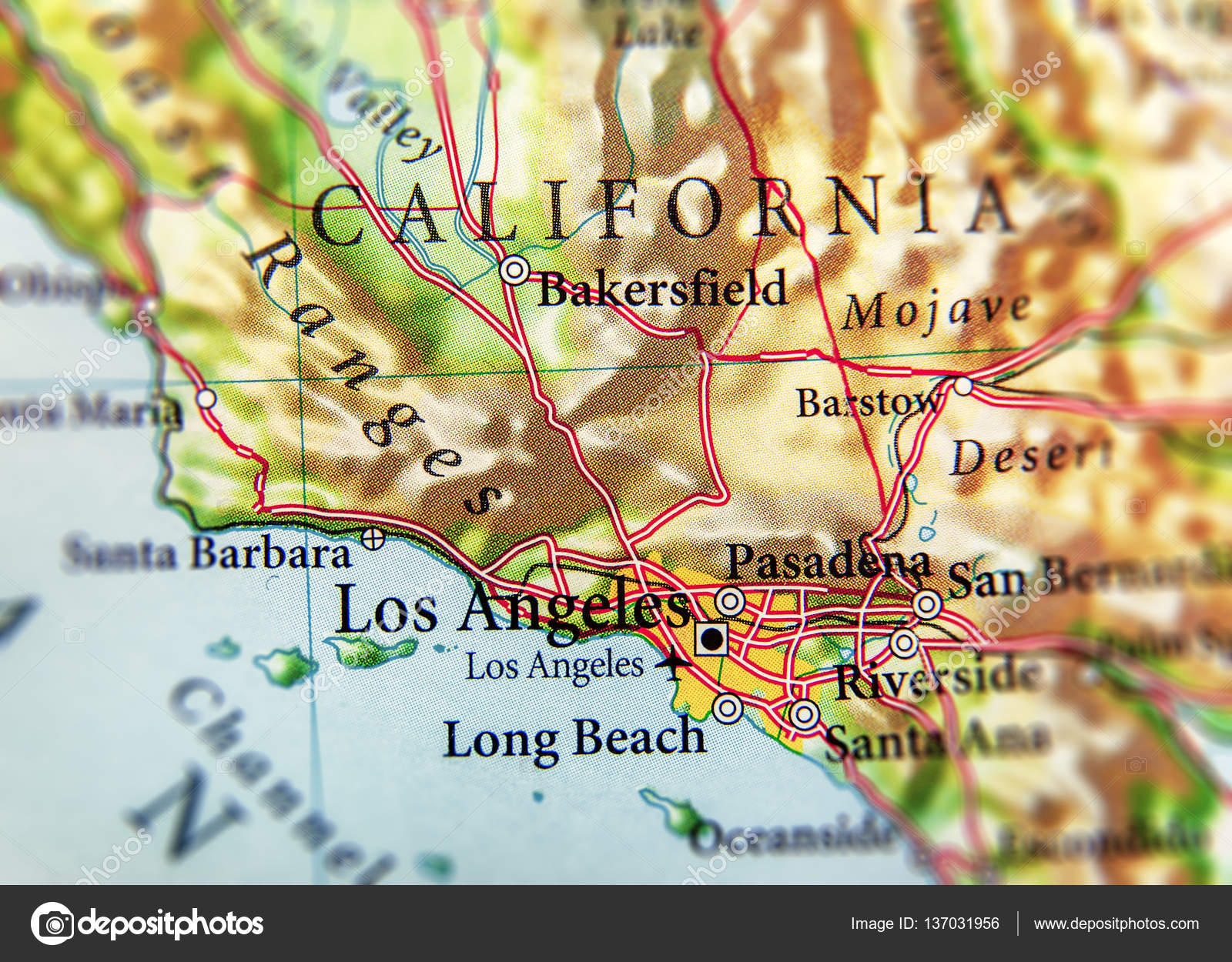 geographic map of us state california with important cities stock po