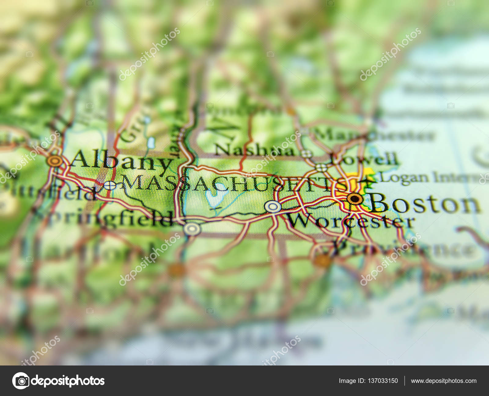 Geographic Map Of US State Massachusetts And Boston City Stock - Geographic map us