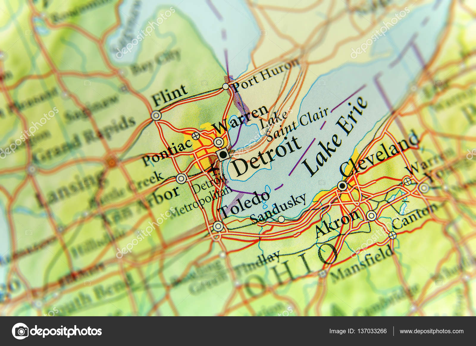 Geographic map of US state Michigan and Detroit city — Stock Photo ...