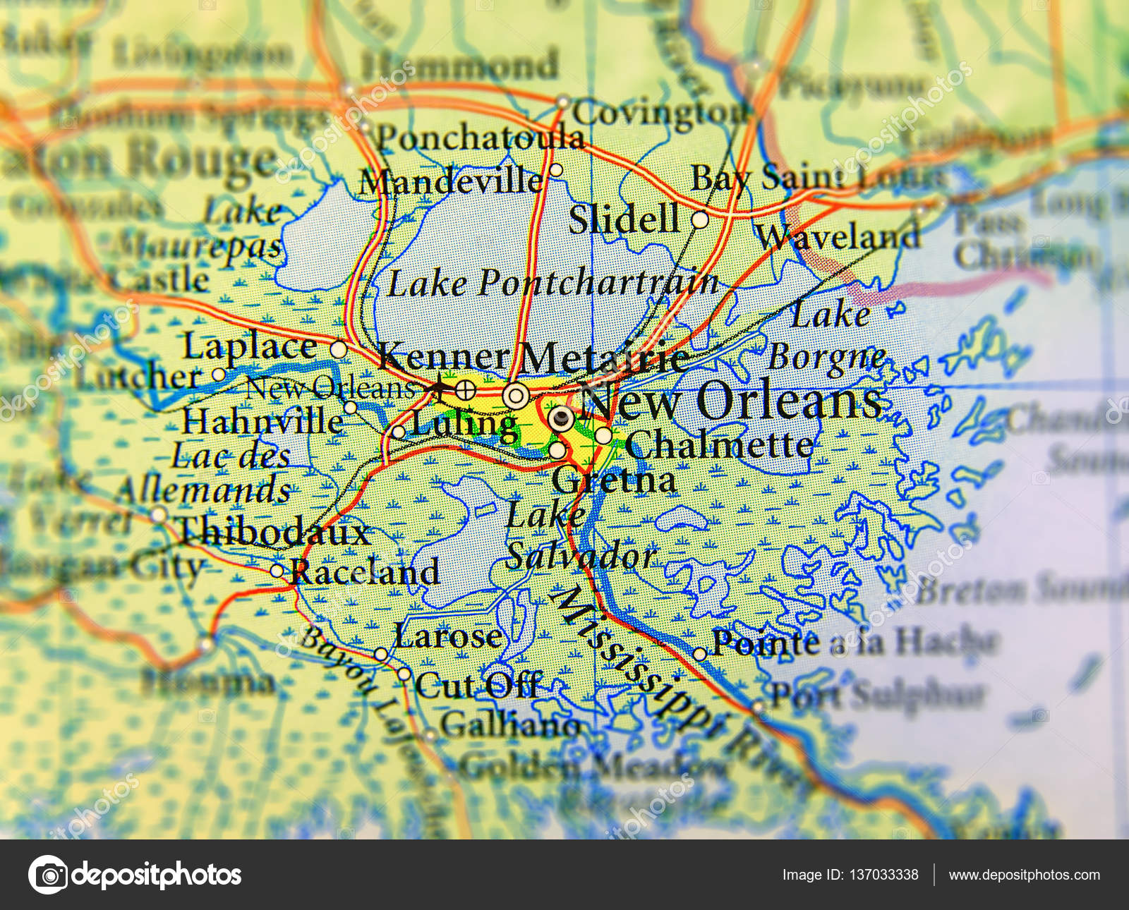 Geographic Map Of Us State Louisiana And New Orleans City Close - New-orleans-us-map