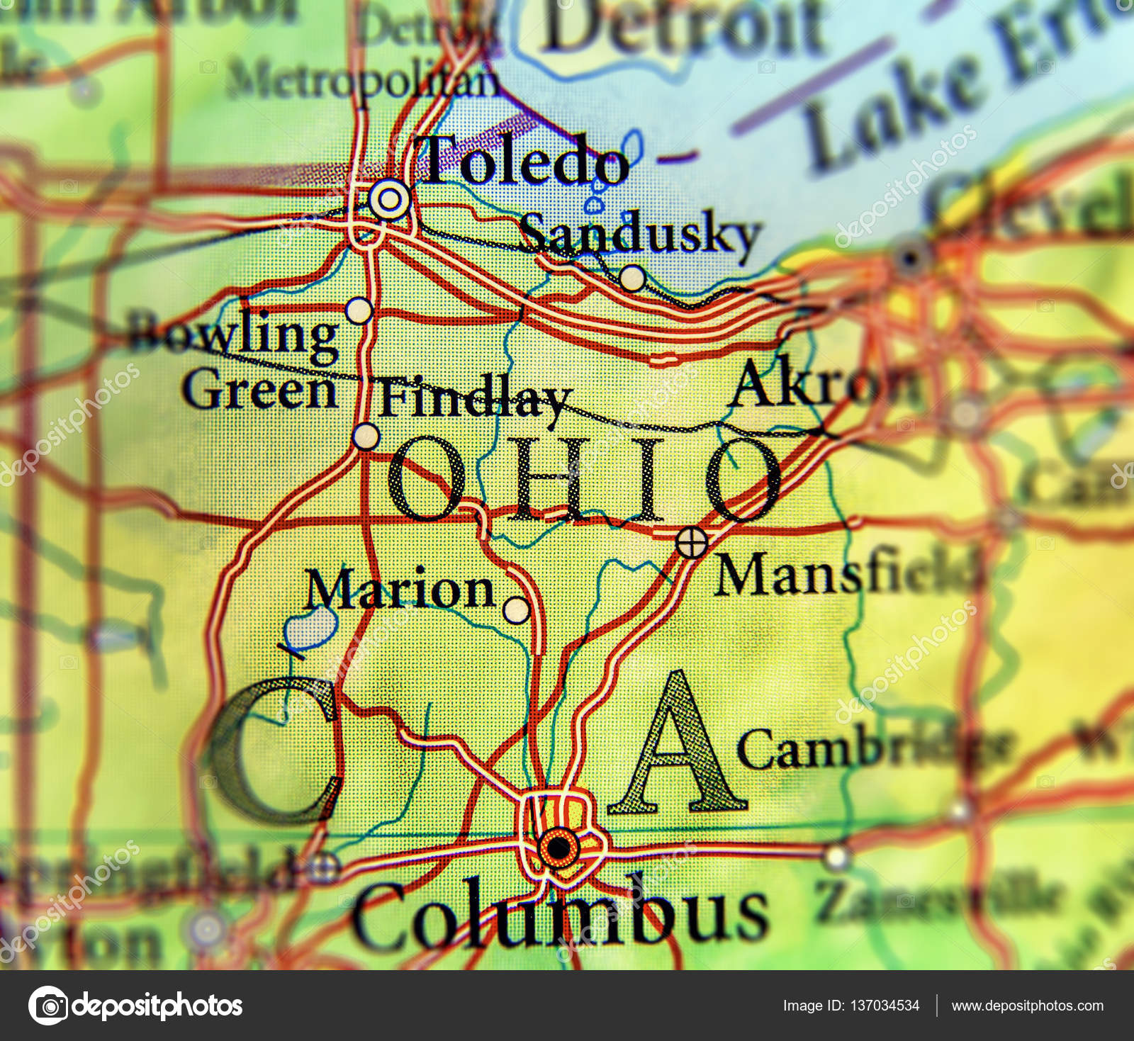 Geographic map of US state Ohio and city Columbus and Toledo city