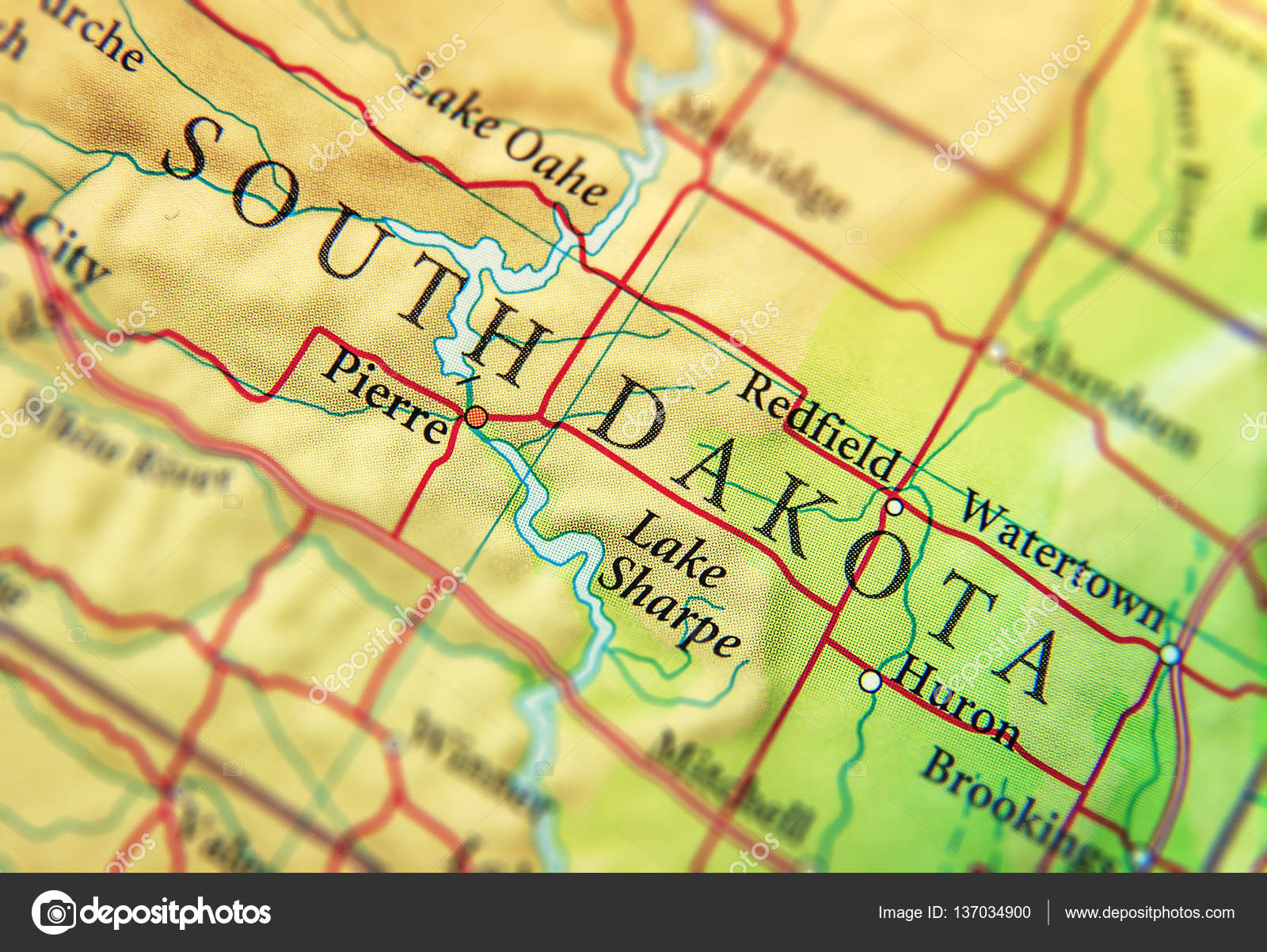 Geographic map of US state South Dakota with important cities