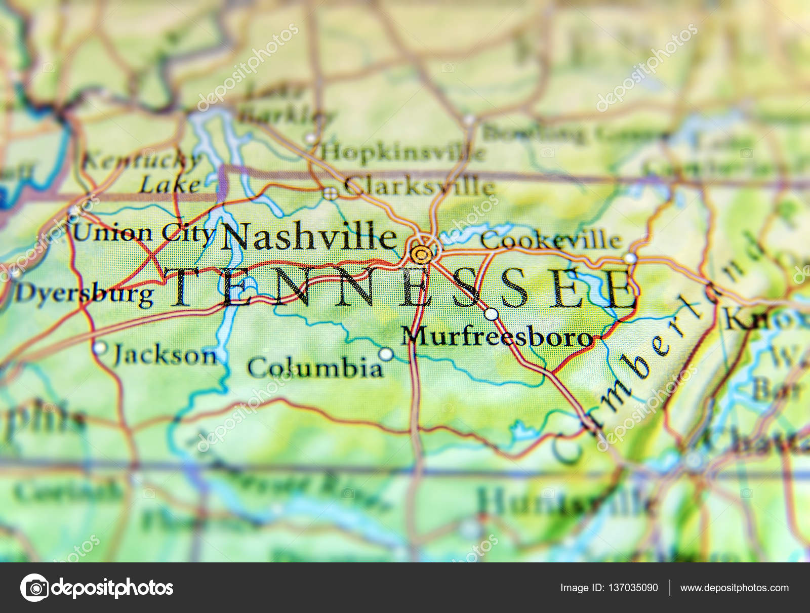 Map Of Us Tennessee.Geographic Map Of Us State Tennessee With Important Cities Stock