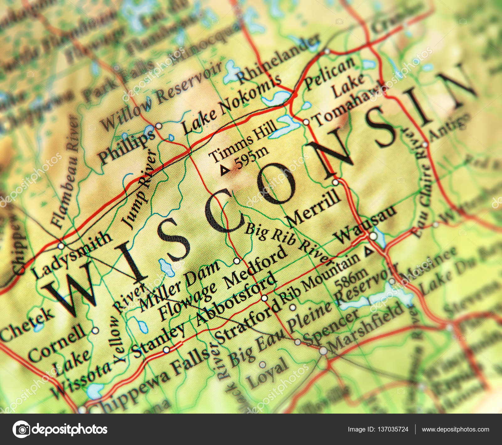 Geographic Map Of Us State Wisconsin With Important Cities Stock - Wisconsin-on-map-of-us