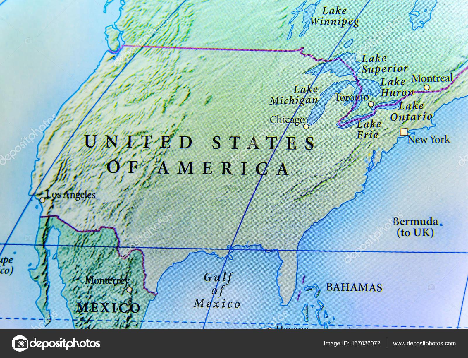 Cartina Geografica Del Paese Stati Uniti Damerica Con Importanti
