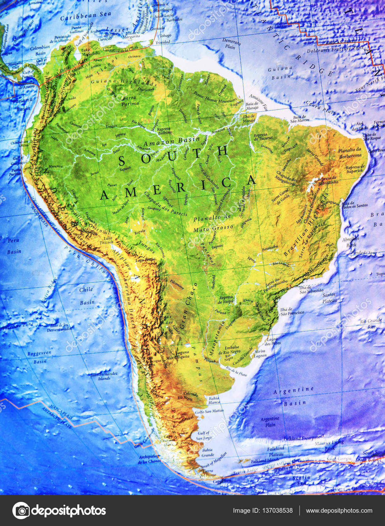 High Detailed South America Physical Map With Labeling Stock - South america physical map