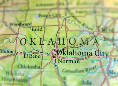 Geographic map of US state Oklahoma with important cities