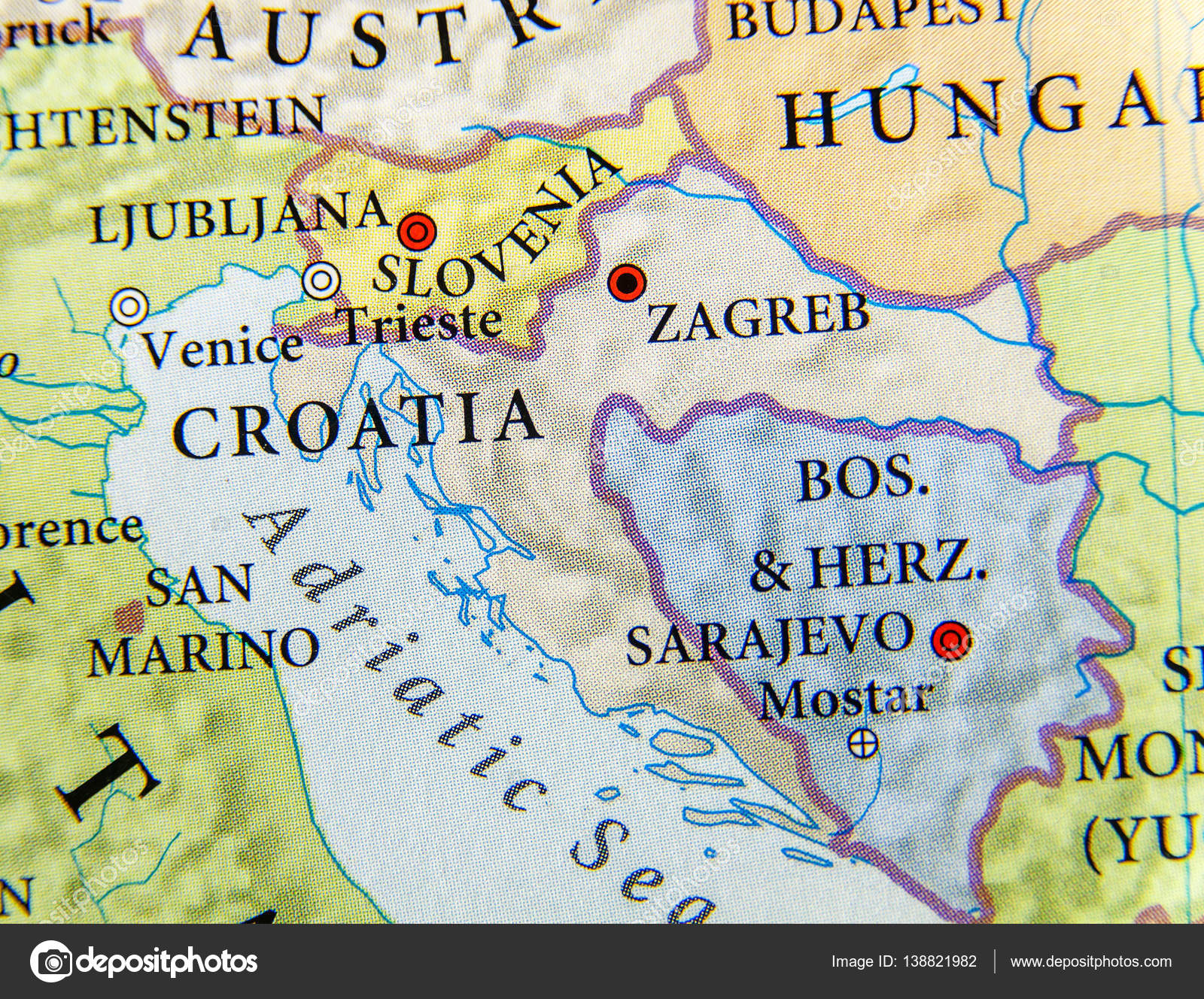 Geographic Map Of European Country Croatia With Important Cities