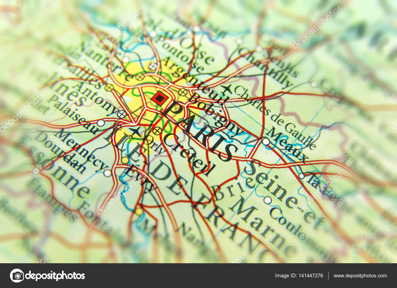 Geographic Map Of European Country France With Paris Capital Cit