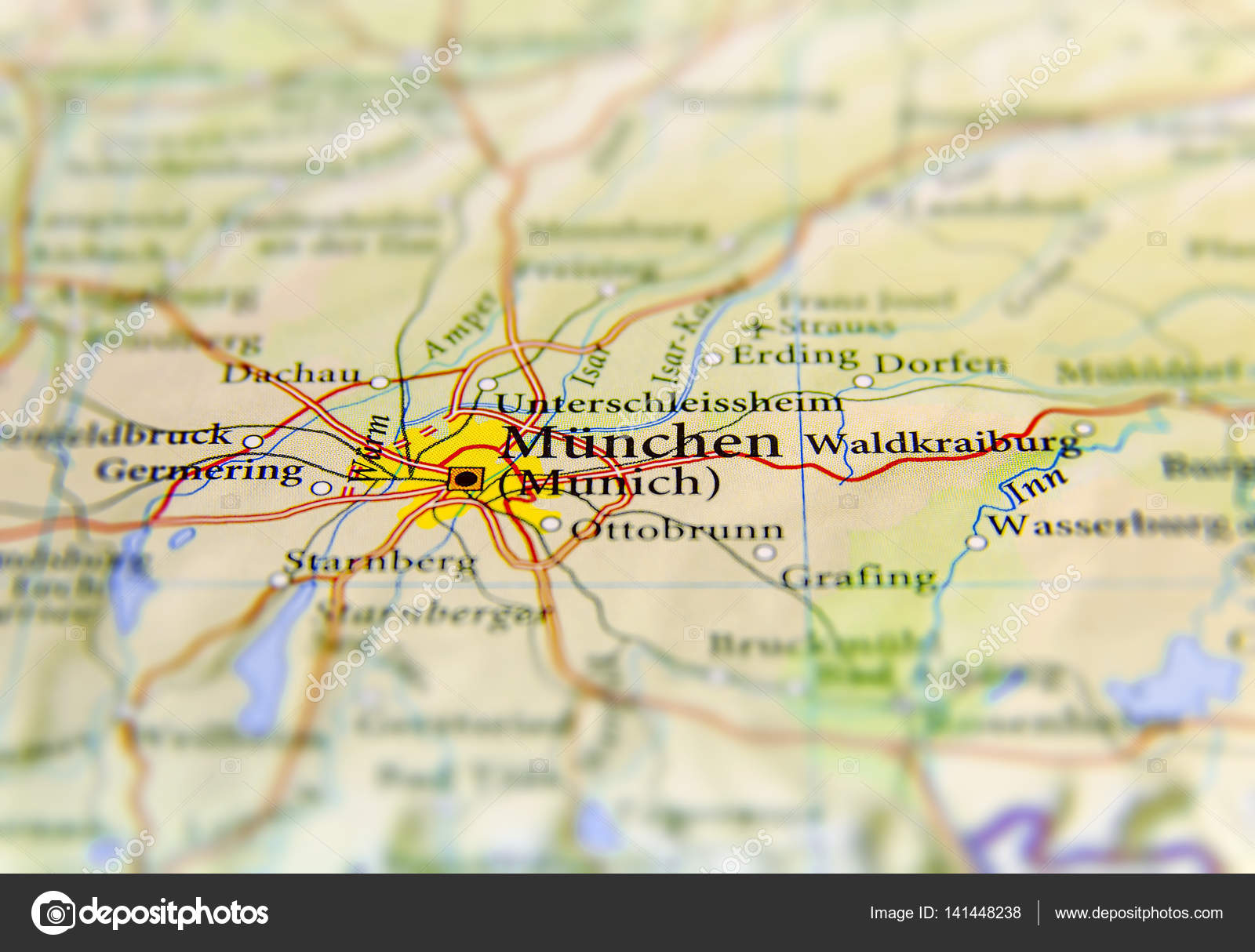 Geographic map of European country Germany with Munich city Stock