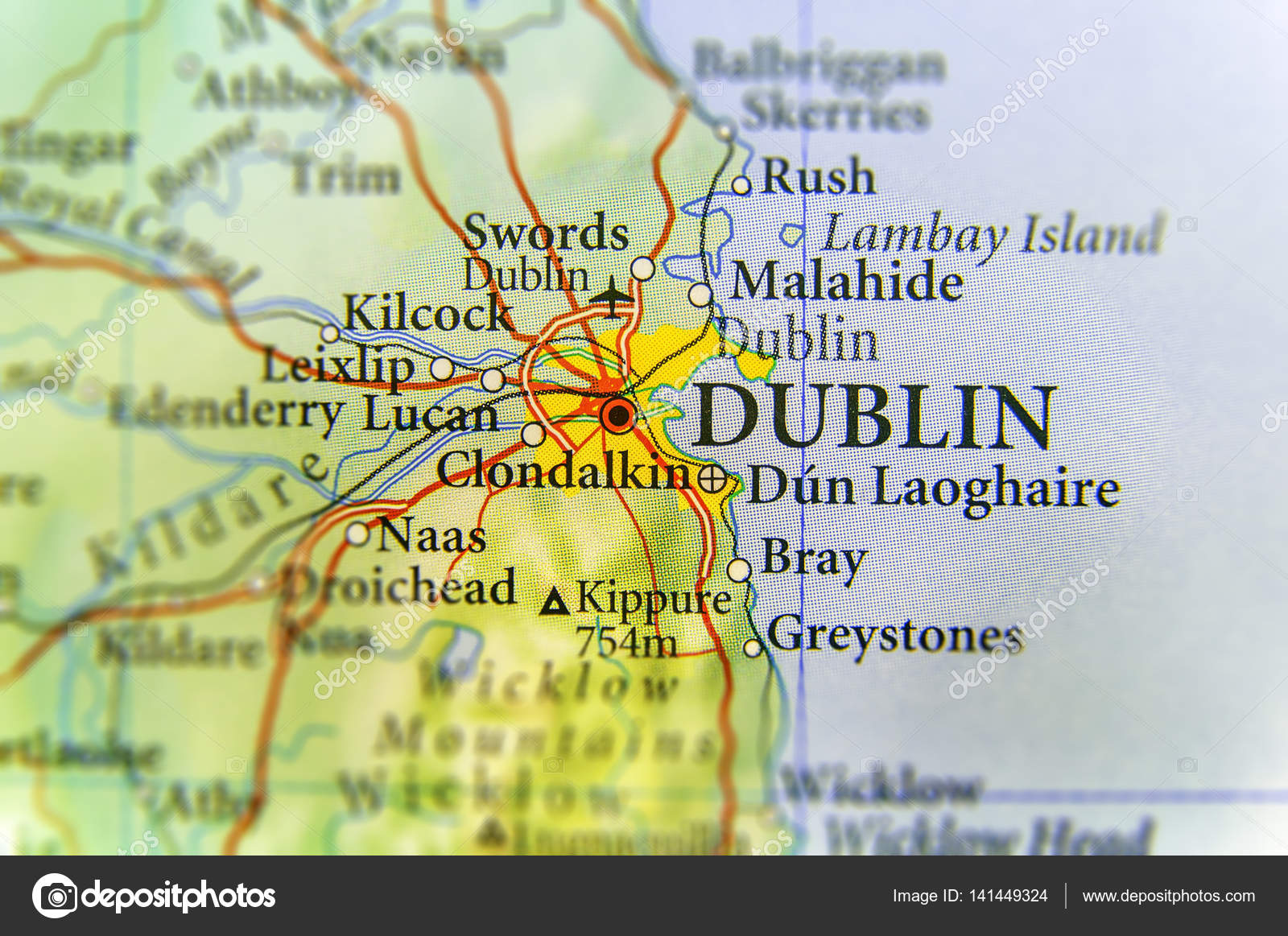 Country Of Ireland Map.Geographic Map Of European Country Ireland With Dublin Capital C