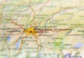 Fotografie geografische Karte des europäischen Landes Deutschland mit München