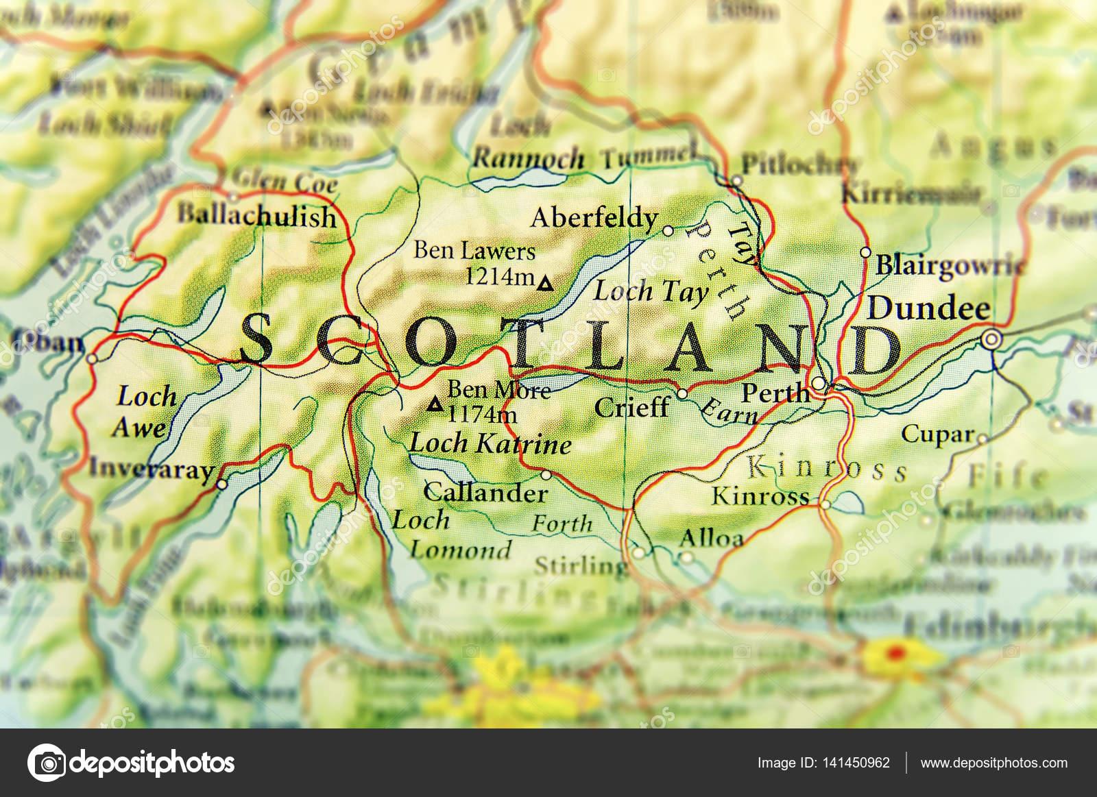 skócia térkép városok Földrajzi Térkép, európai ország Skócia fontos citie — Stock Fotó