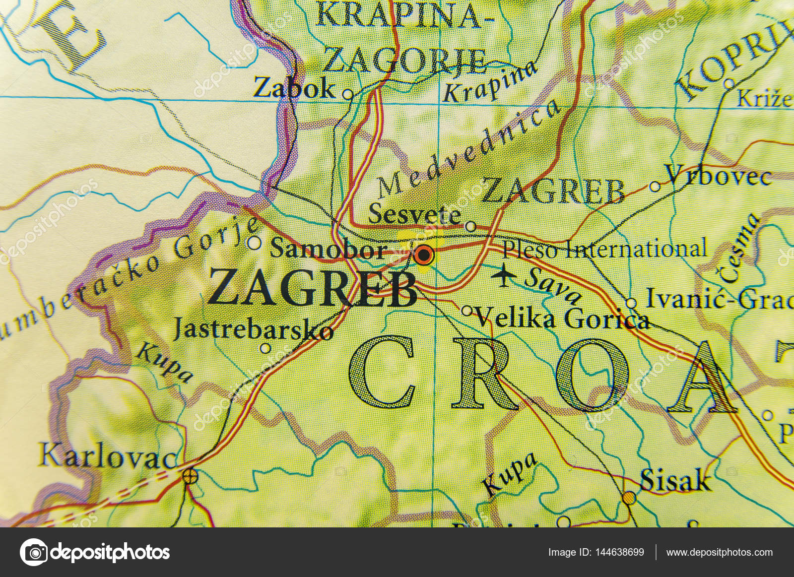 Geographic map of European country Croatia with Zagreb city — Stock on rijeka city map, opatija city map, prizren city map, vukovar city map, treviso city map, cotonou city map, belgrade city map, film city map, geneva city map, zug city map, serbia city map, goteborg city map, perth city map, pretend city map, cluj city map, santiago city map, pula city map, alicante city map, port of spain city map, marbella city map,