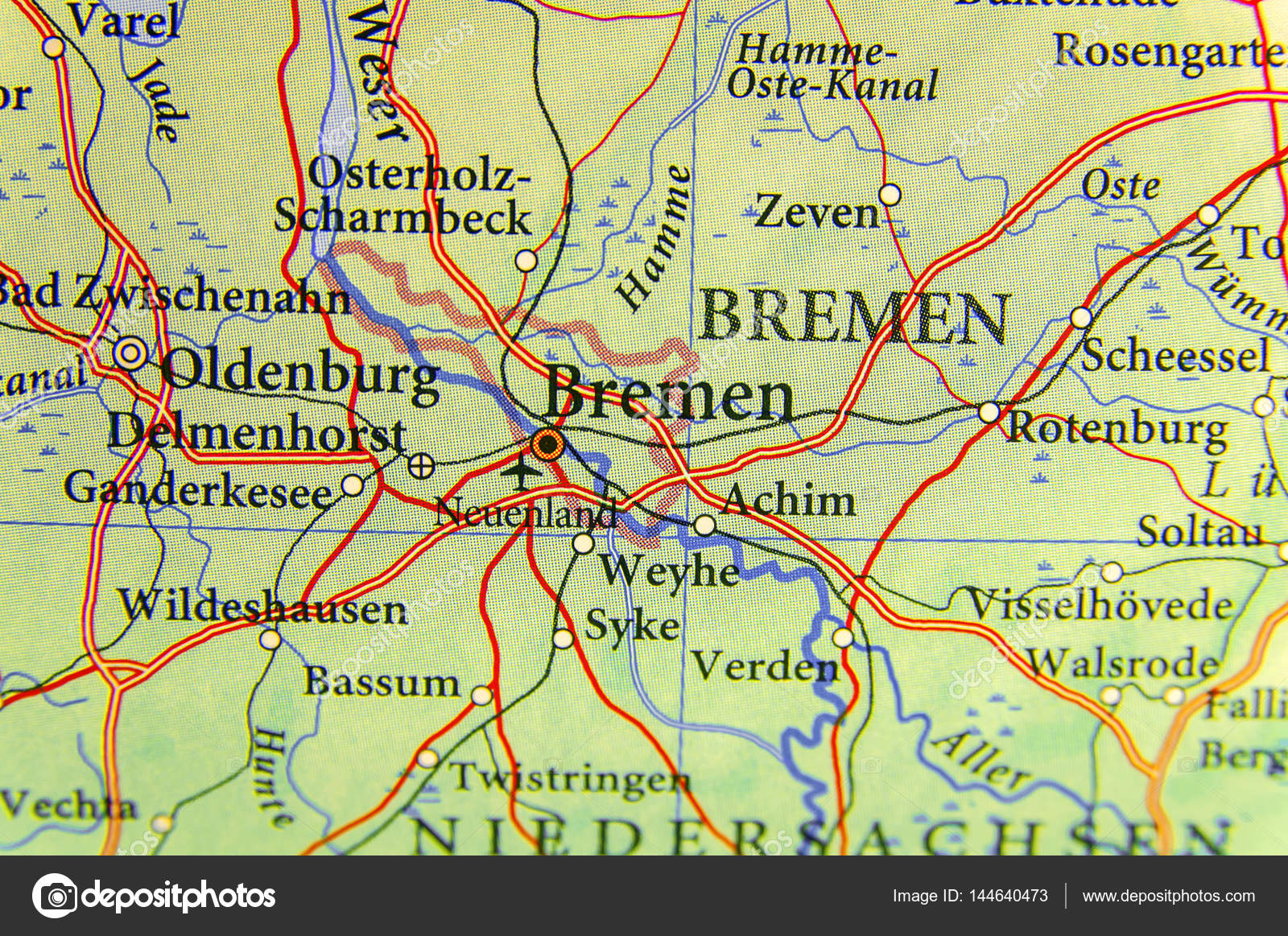 Map Of Bremen Germany.Geographic Map Of European Country Germany With Bremen City Stock