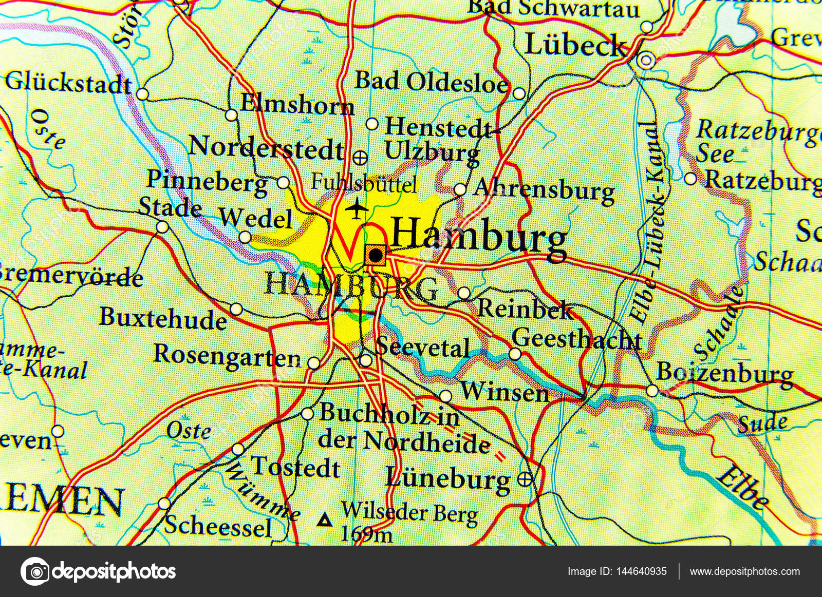 Hamburg Map Of Germany.Geographic Map Of European Country Germany With Hamburg City Stock