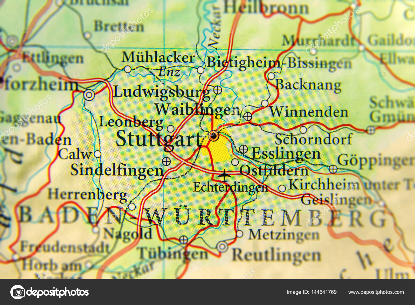 Geographic map of European country Germany with Stuttgart city