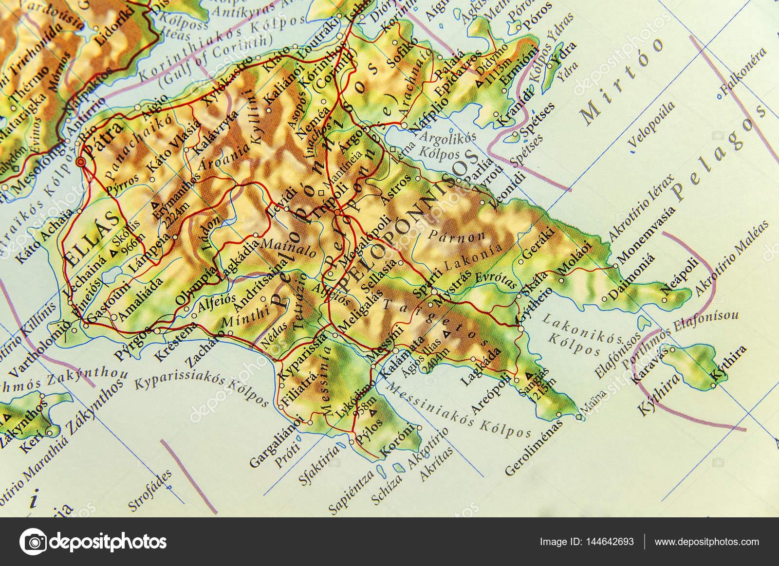 Karte Griechenland Peloponnes.Geographische Karte Der Europaischen Land Griechenland