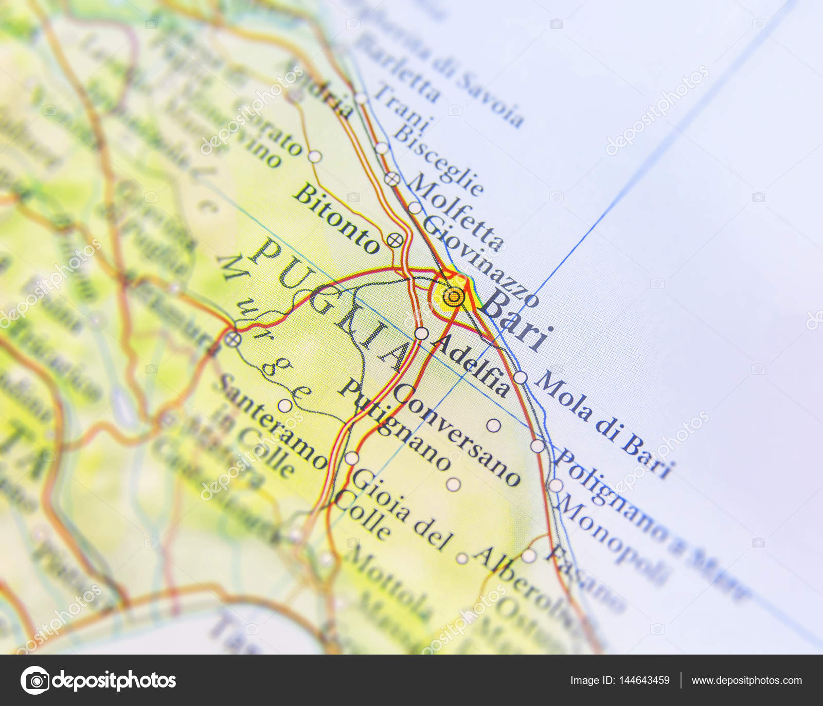 Geographic Map Of European Country Italy With Bari City Stock