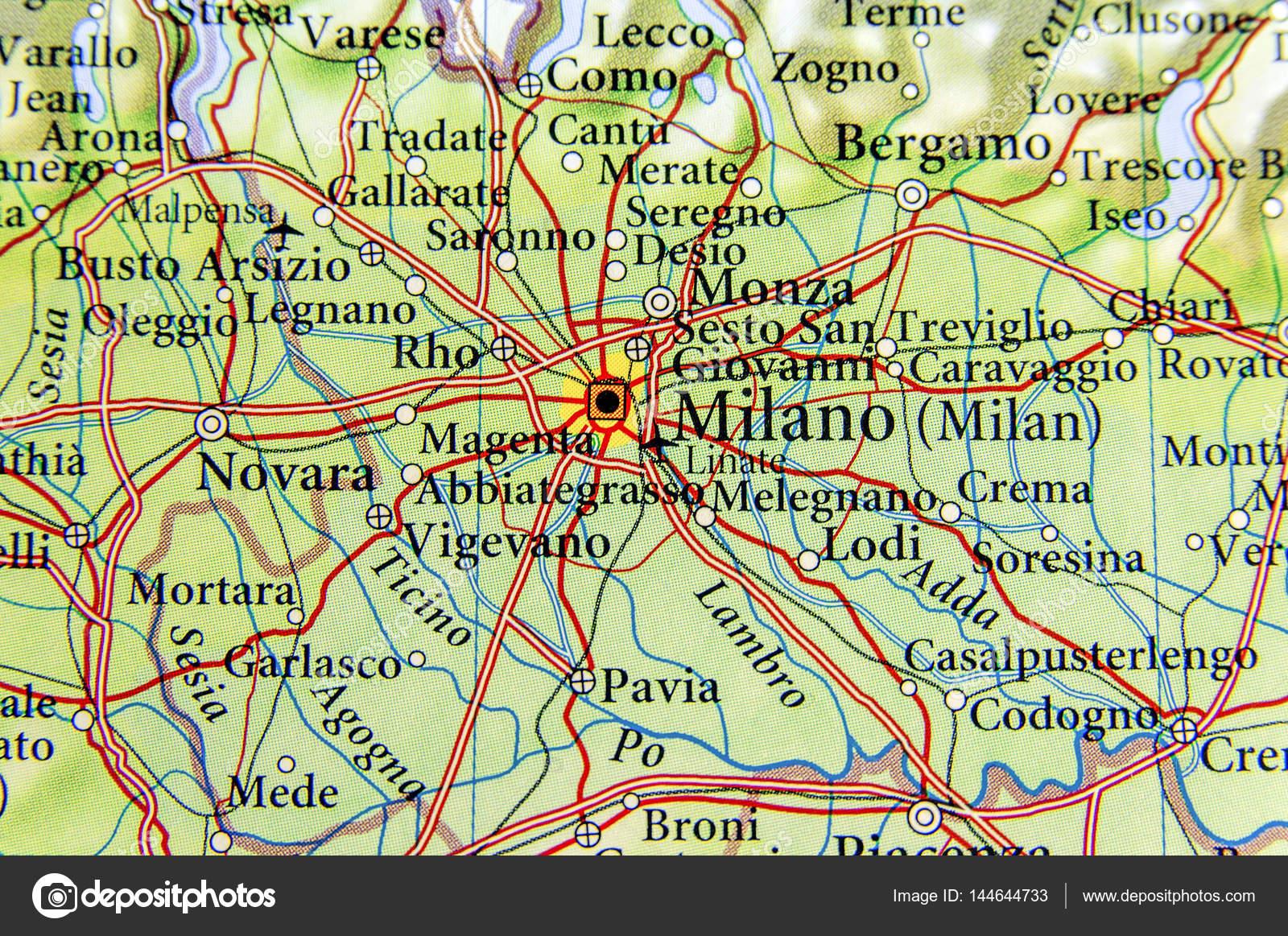 Geografiska Karta Over Europeiska Land Italien Med Milano