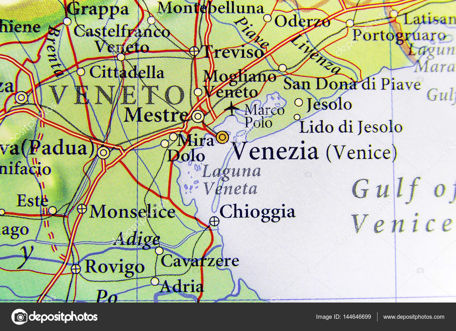Cartina Topografica Venezia.Geographic Map Of European Country Italy With Venezia City Stock