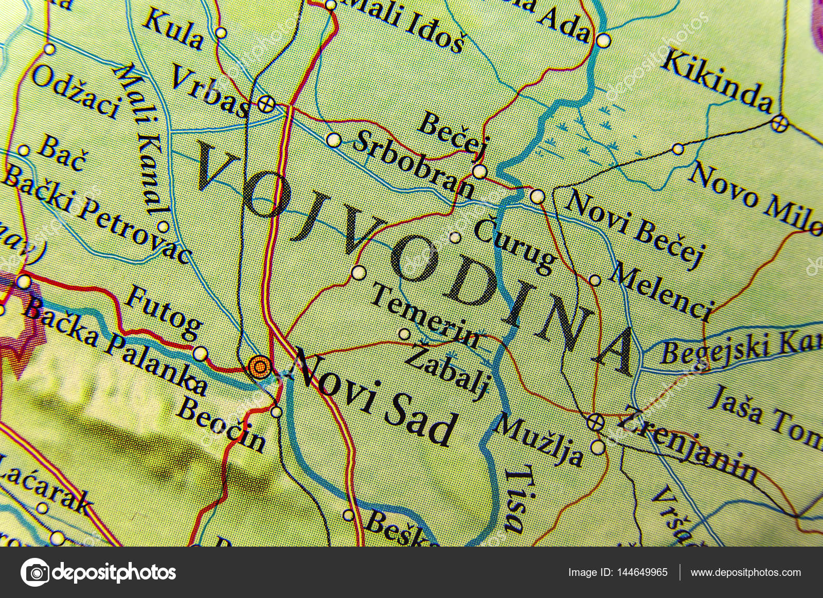 Geographic Map Of European Country Serbia And Vojvodina State Au