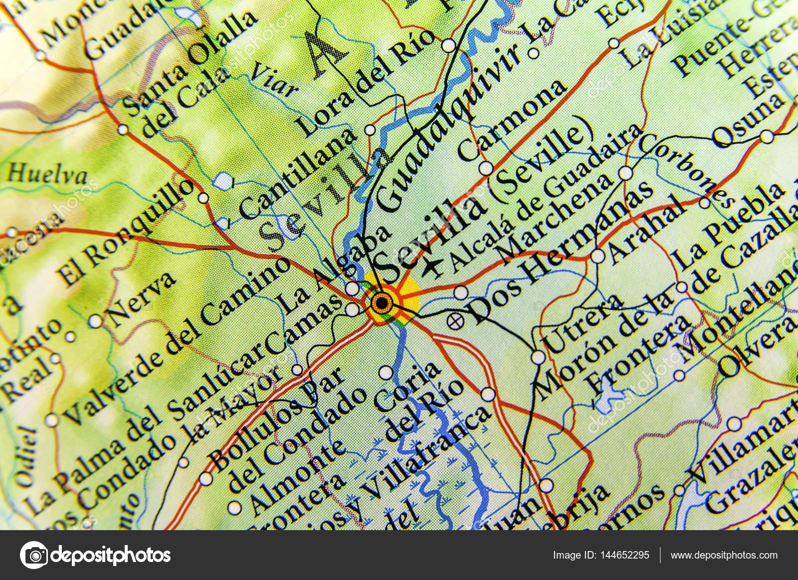 Geographische Karte der europäischen Land Spanien Sevilla ...