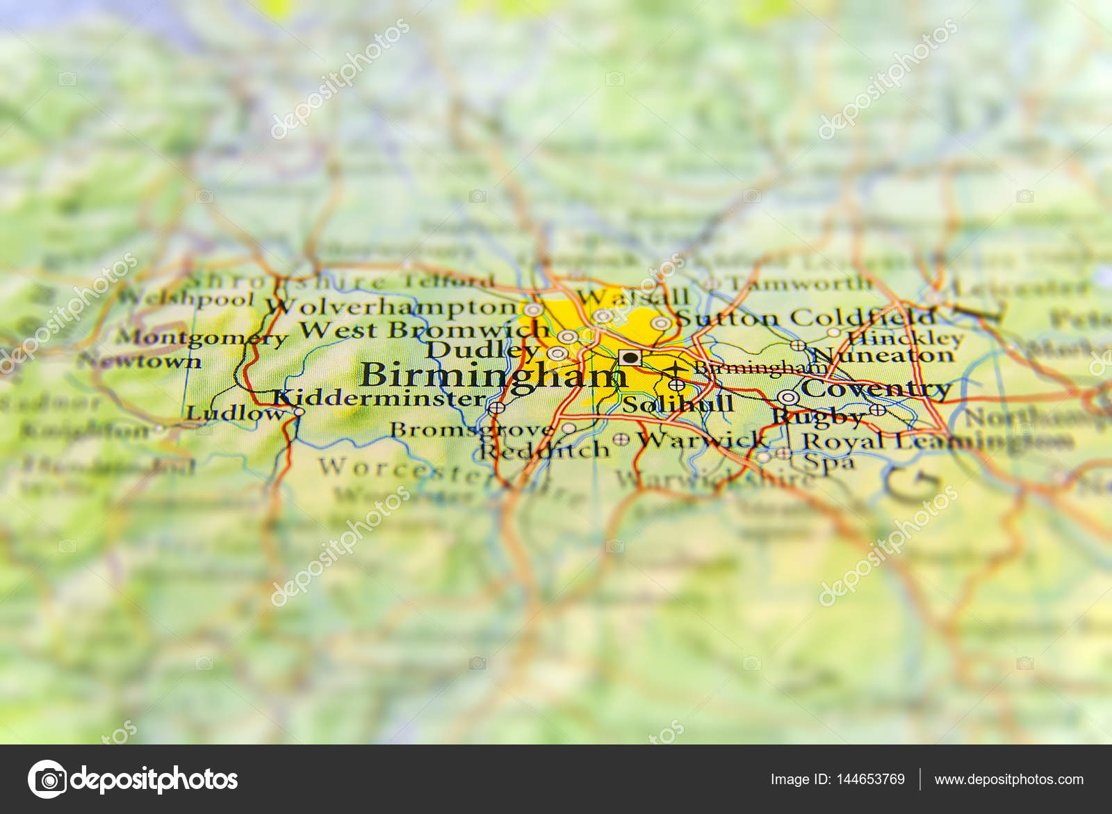 Map Of Uk Birmingham.Geographic Map Of European Country Uk With Birmingham City Stock