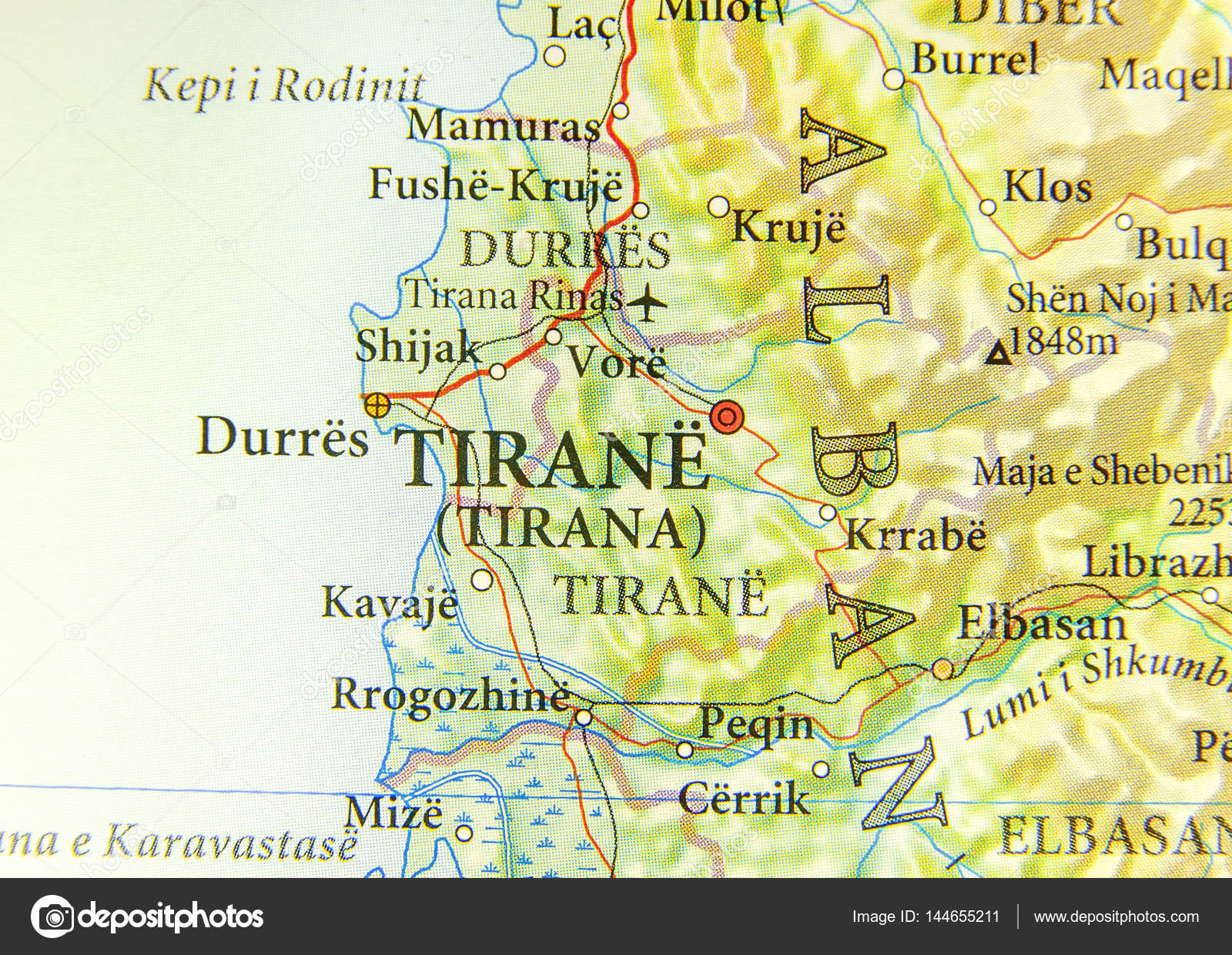 Albania Cartina Stradale.Geographic Map Of European Country Albania With Tirana City Stock Photo Image By C Bennian 144655211