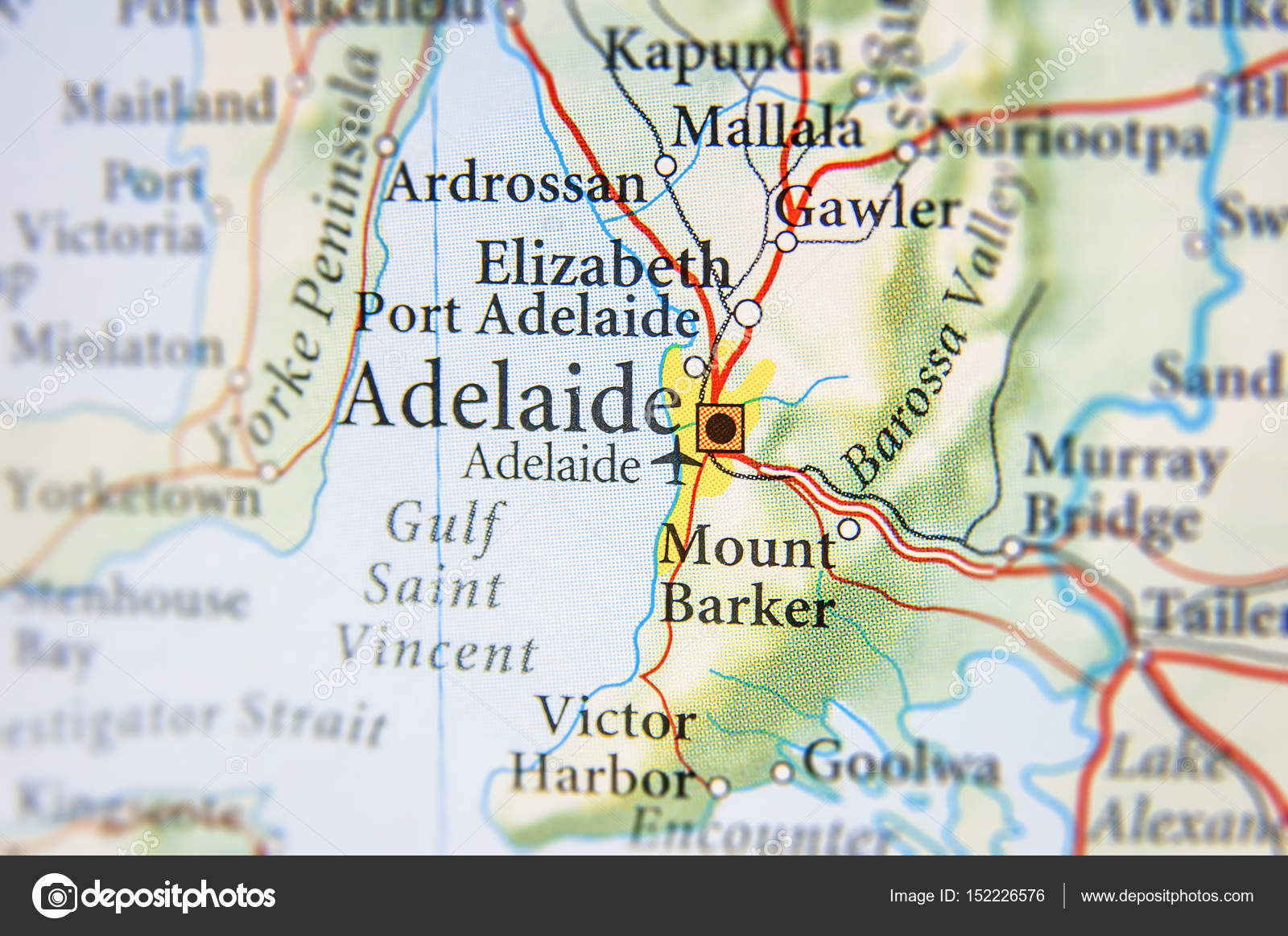 Map Adelaide Australia.Geographic Map Of Australia With Adelaide City Stock Photo