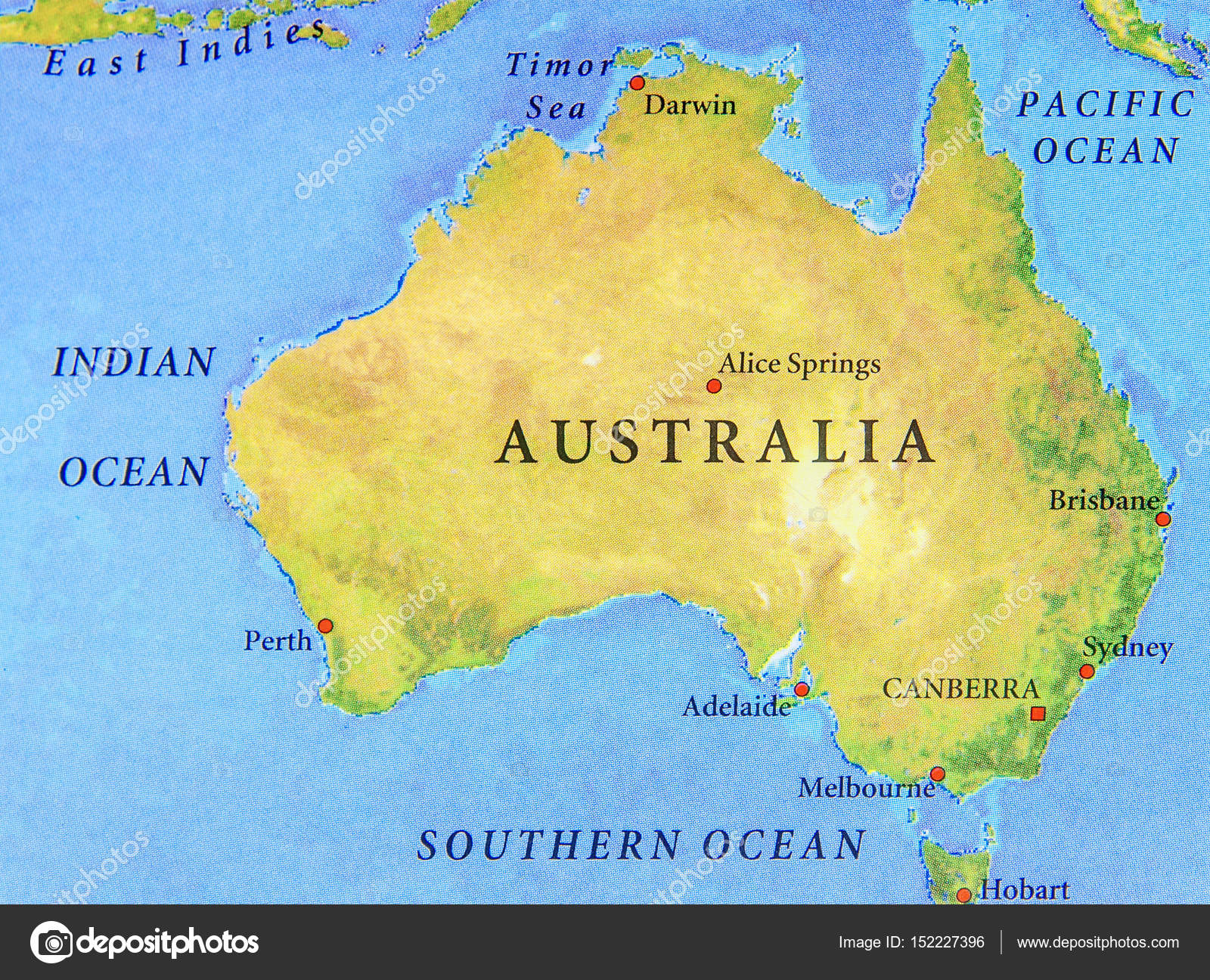Australia Map With Main Cities.Geographic Map Of Australia With Important Cities Stock Photo