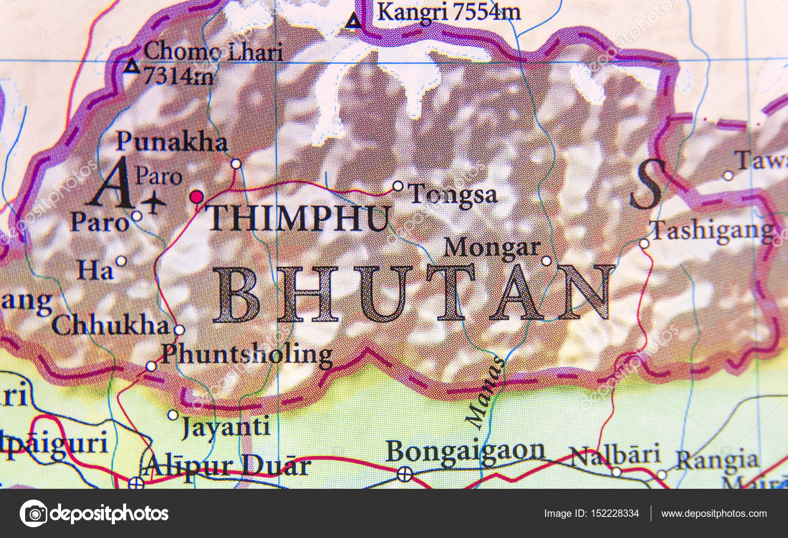 Geographic map of Bhutan with important cities Stock Photo