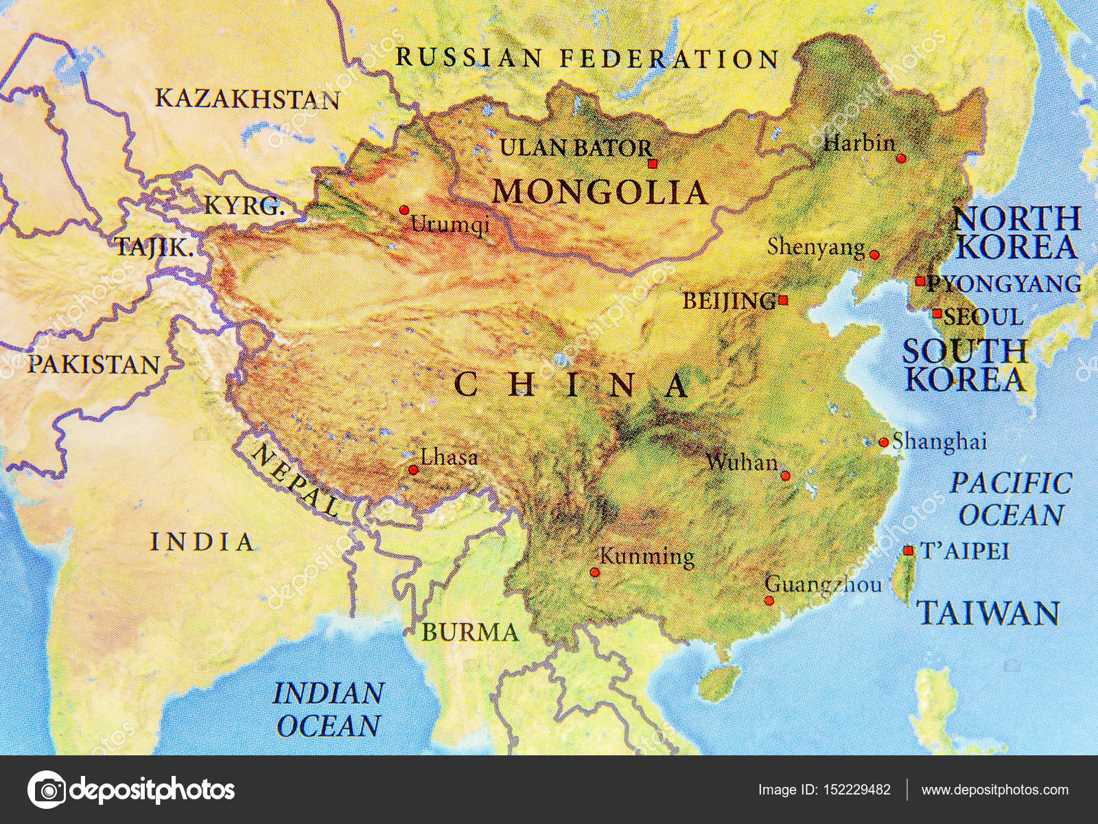 Geographic map of chine mongolia north korea and south korea w geographic map of chine mongolia north korea and south korea w stock photo gumiabroncs Choice Image