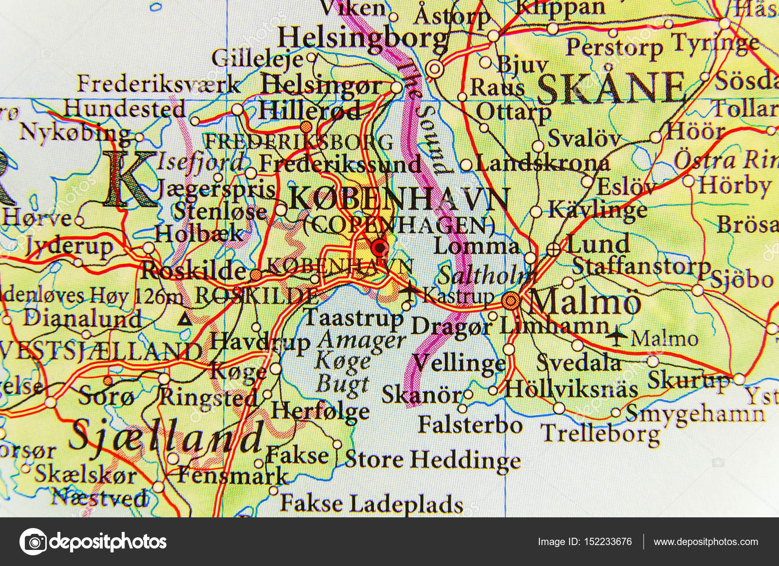 Karta Skane Och Danmark.Geografiska Karta Over Europeiskt Land Danmark Med Huvudstaden Cop