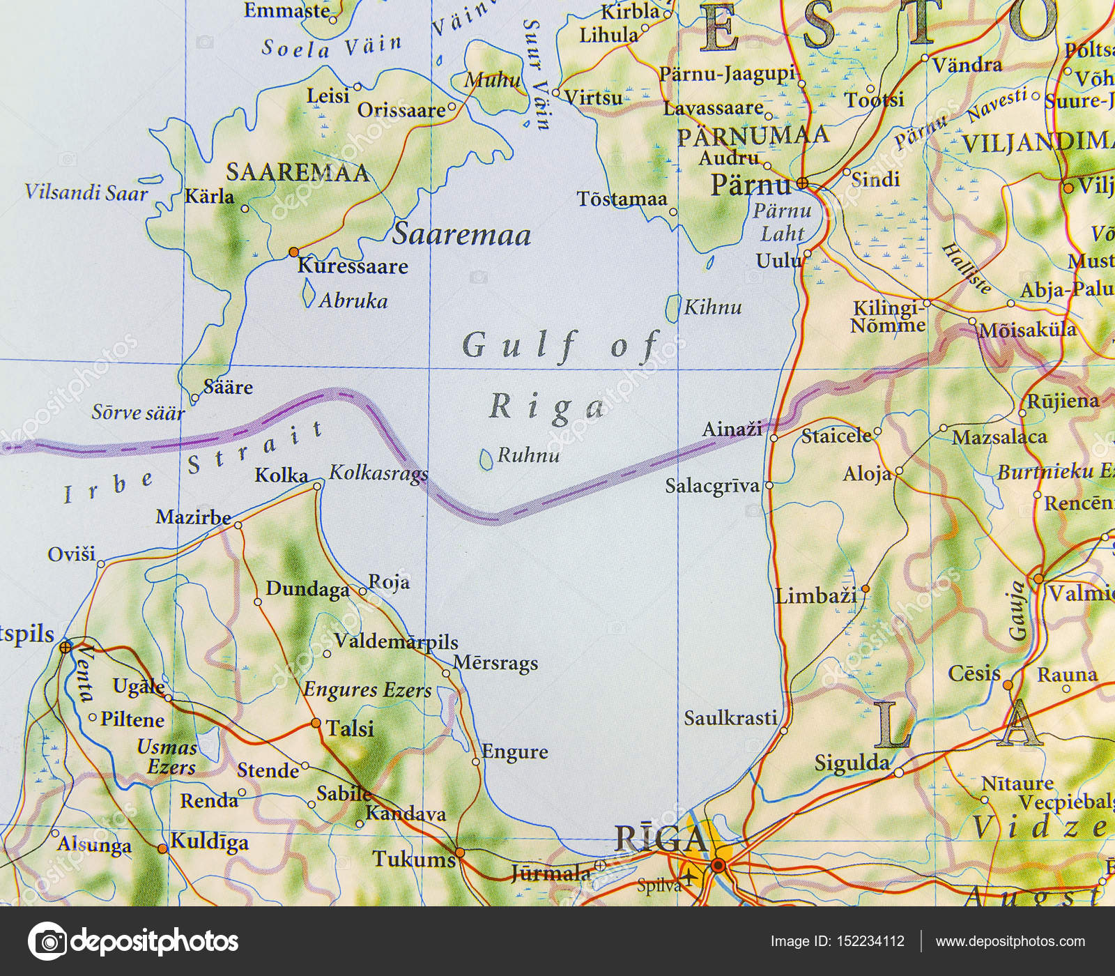 Geographic Map Of European Country Estonia With Gulf Of Riga - Estonia map download
