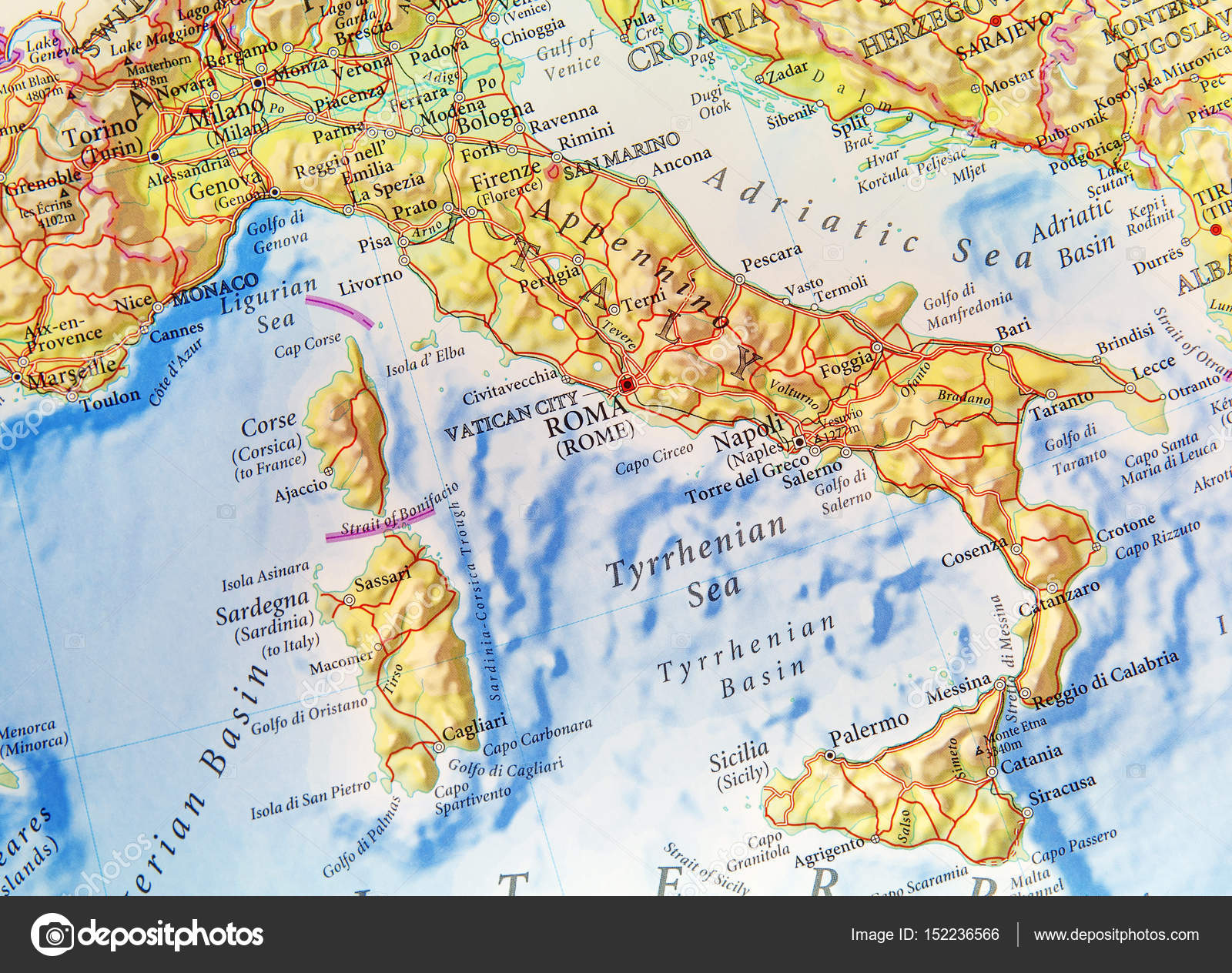 Geographic Map Of European Country Italy With Important Cities