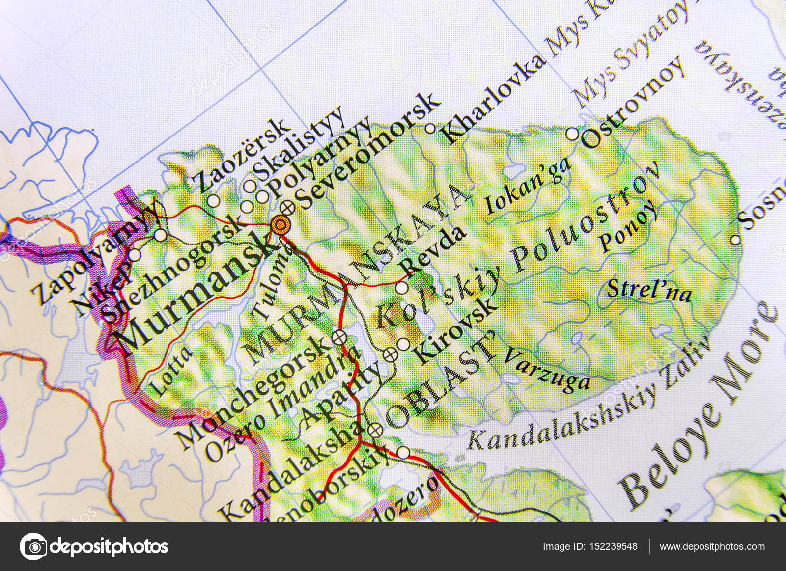 Geographic map of European country Russia with city Murmansk — Stock ...