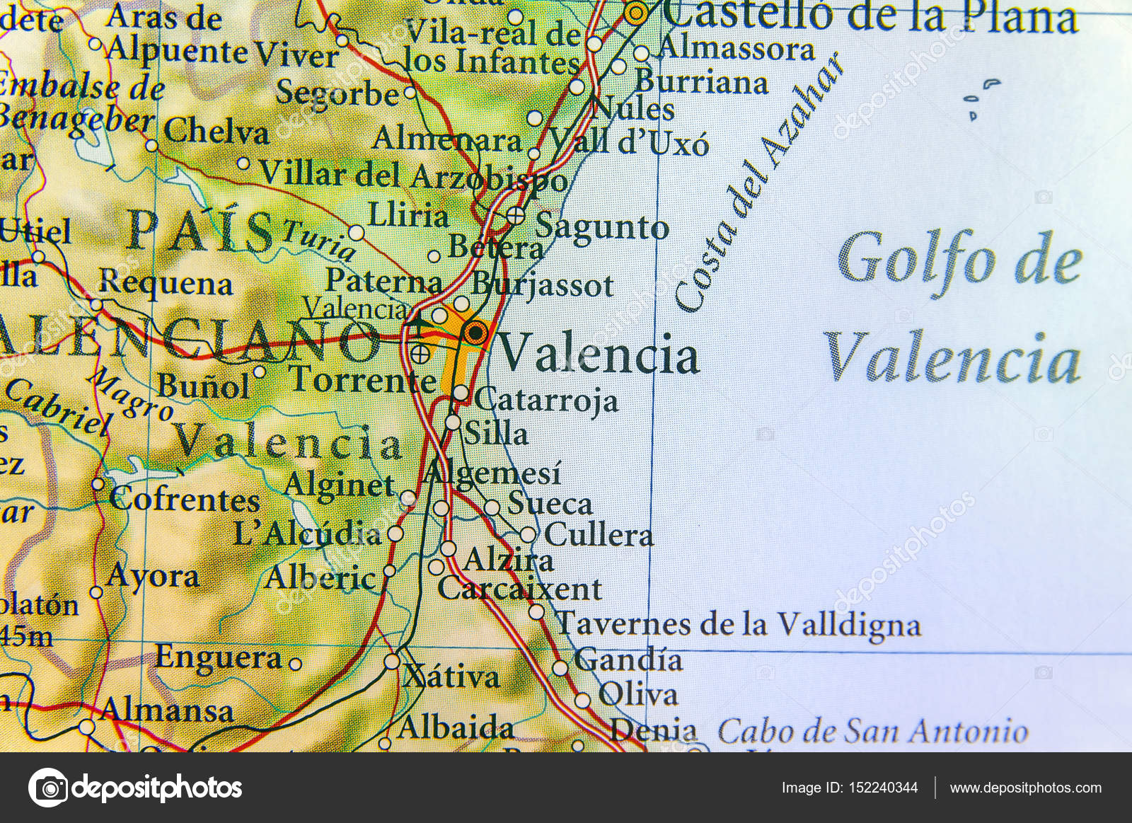 Map Of Spain Valencia.Geographic Map Of European Country Spain With Valencia City Stock