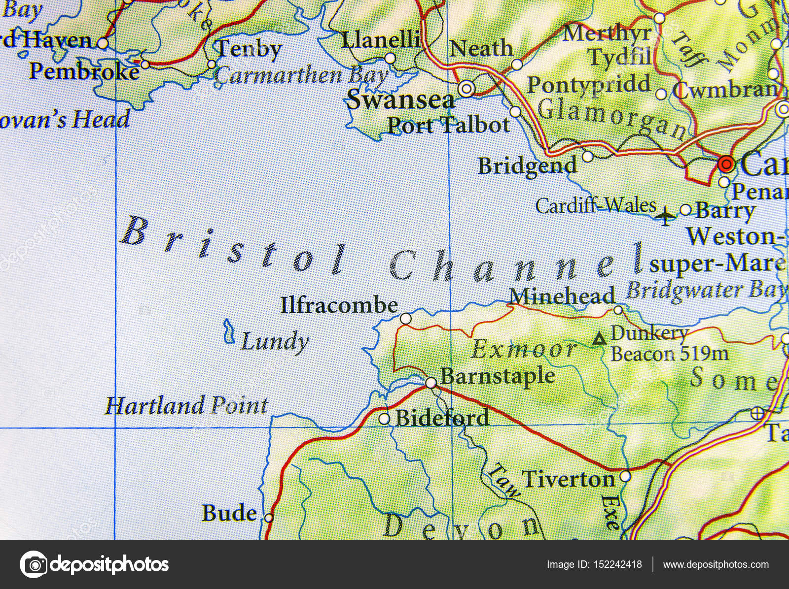 Geographic map of European country UK with Bristol Channel Stock