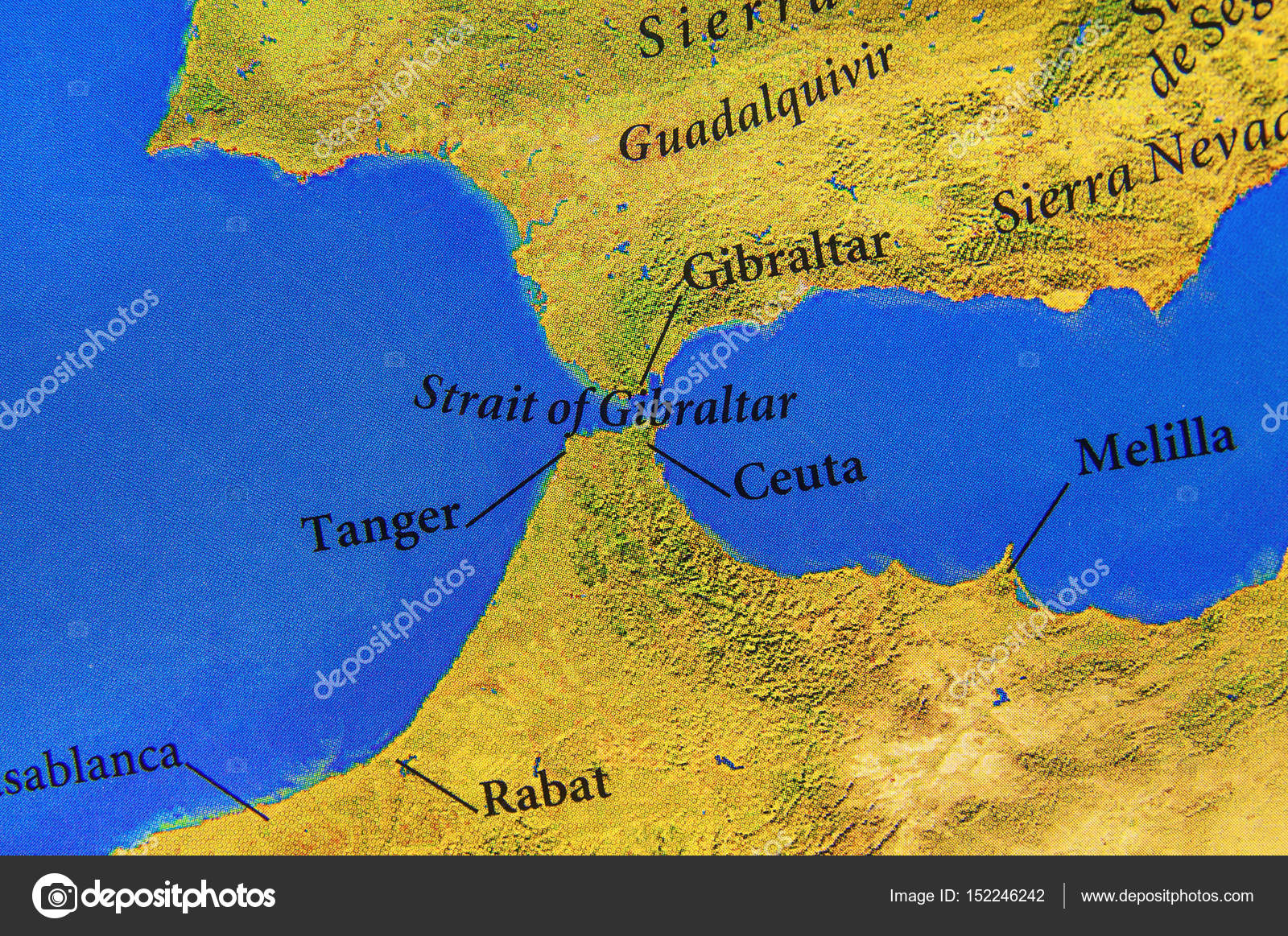 estreito gibraltar mapa Mapa geográfico Europeu estreito de Gibraltar — Stock Photo  estreito gibraltar mapa
