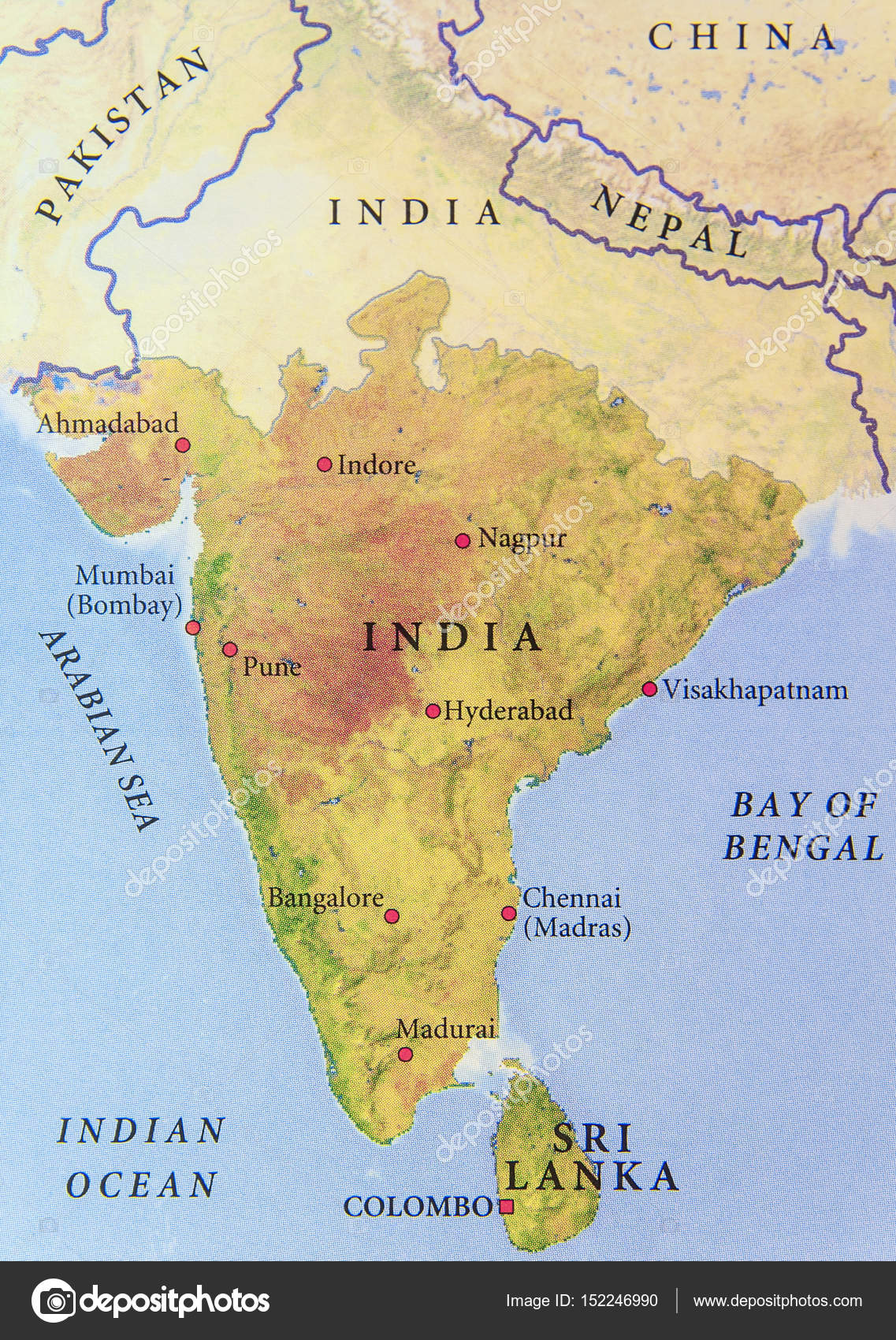 Map Of India Geographic.Geographic Map Of India With Important Cities Stock Photo