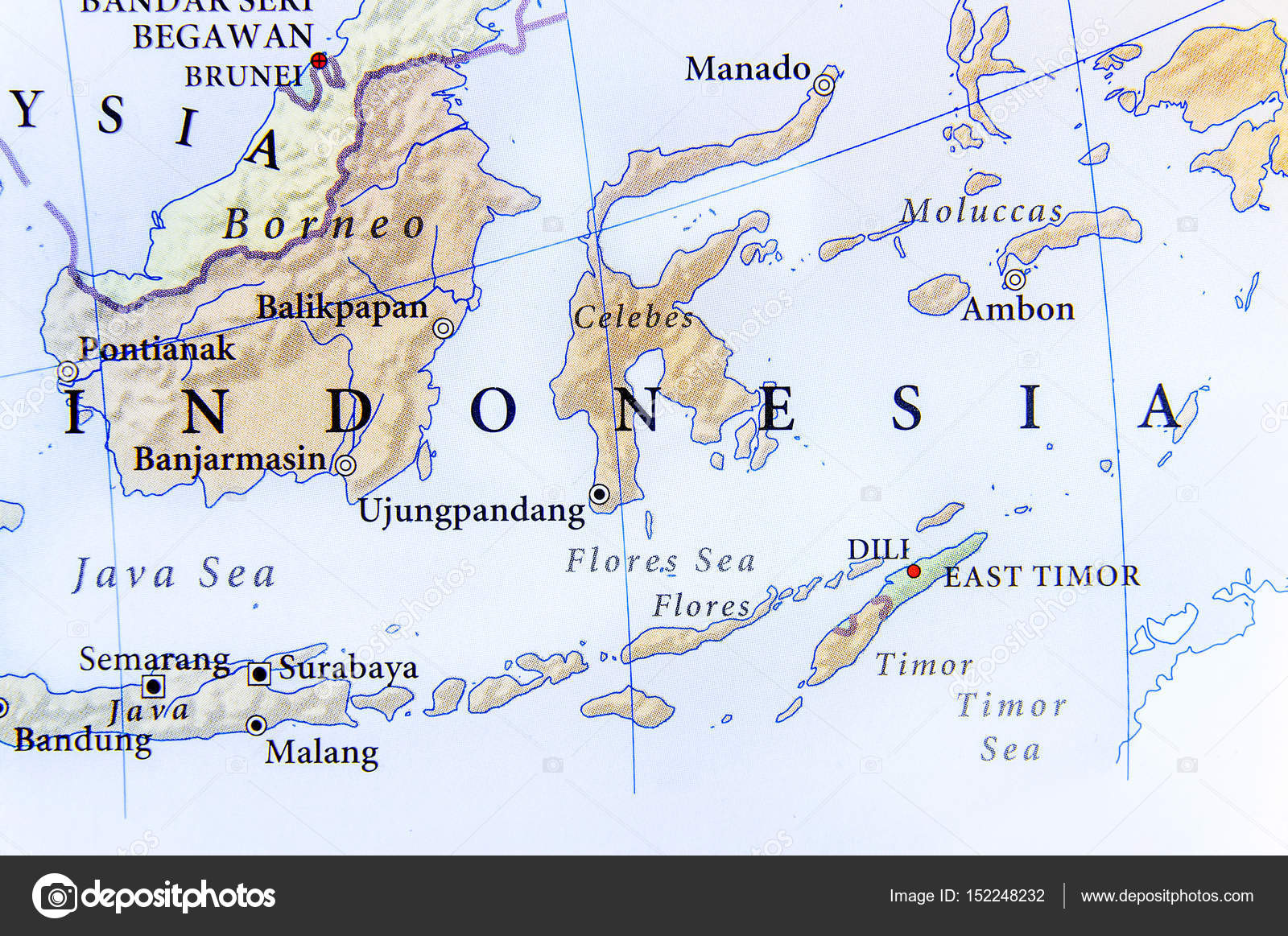 Indonesia Cartina.Geographic Map Of Indonesia With Important Cities Stock Photo