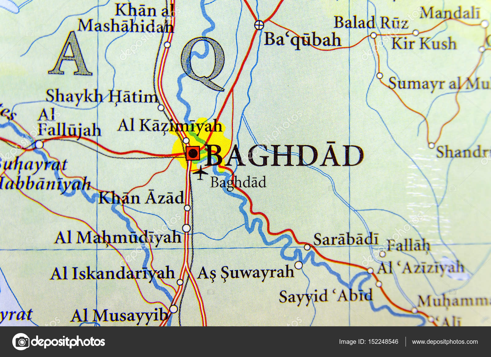 Geographic map of Iraq with capital Baghdad city Stock Photo