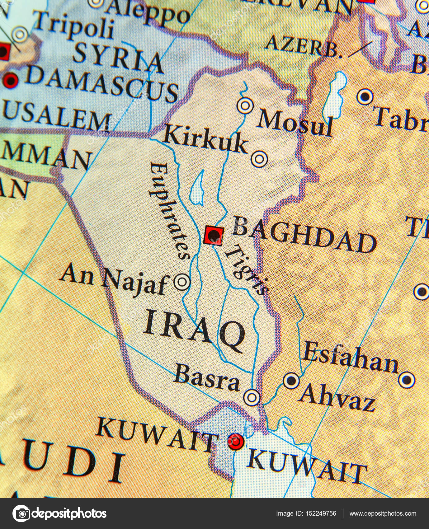 Geographic map of Iraq with important cities — Stock Photo © Bennian ...