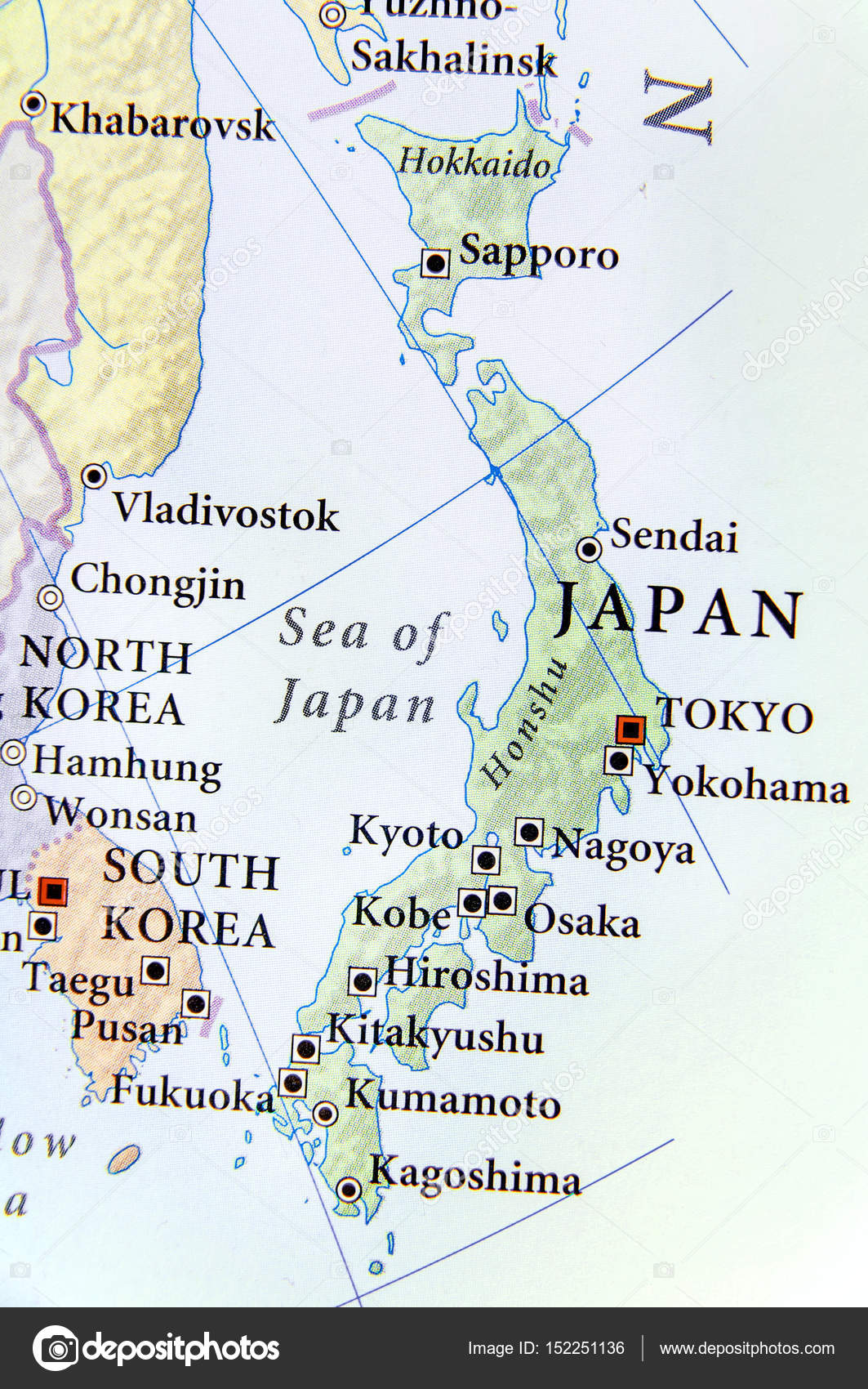 Cartina Del Giappone Immagini.Geographic Map Of Japan With Important Cities Stock Photo