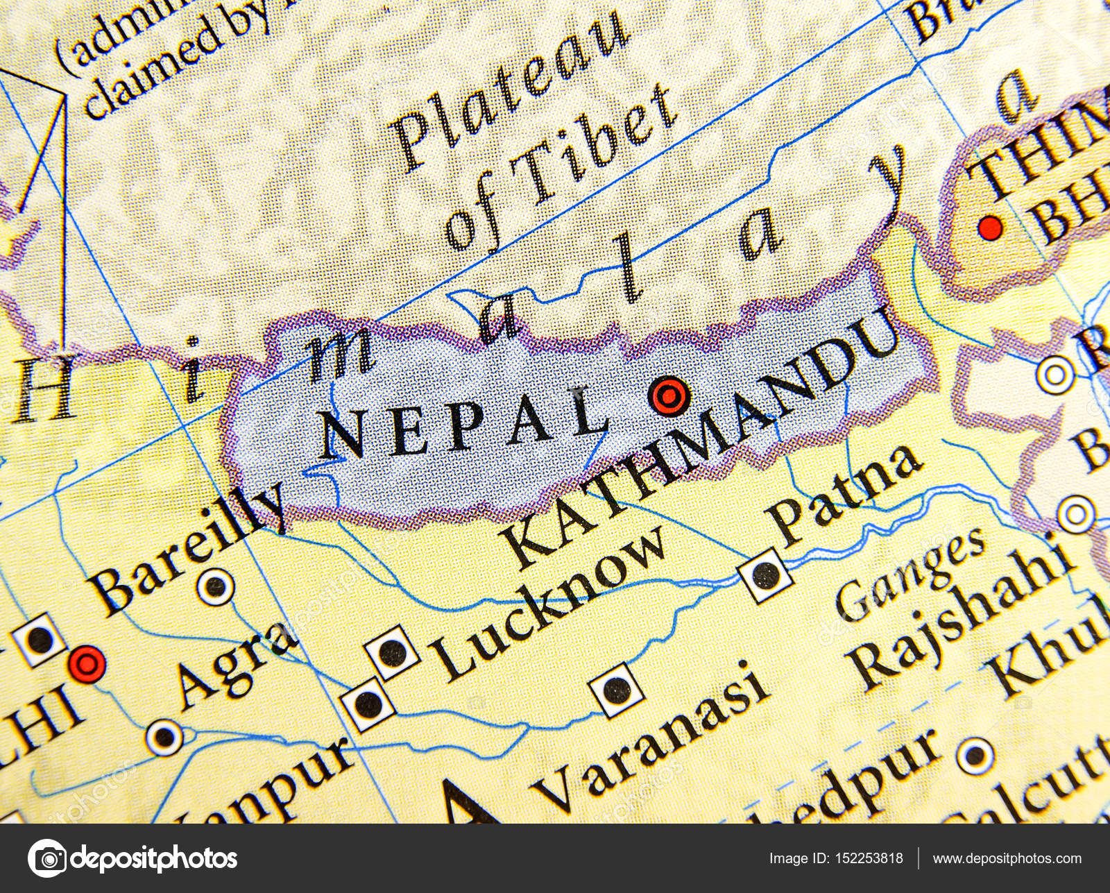 Cartina India Nepal.Geographic Map Of Nepal With Important Cities Stock Photo